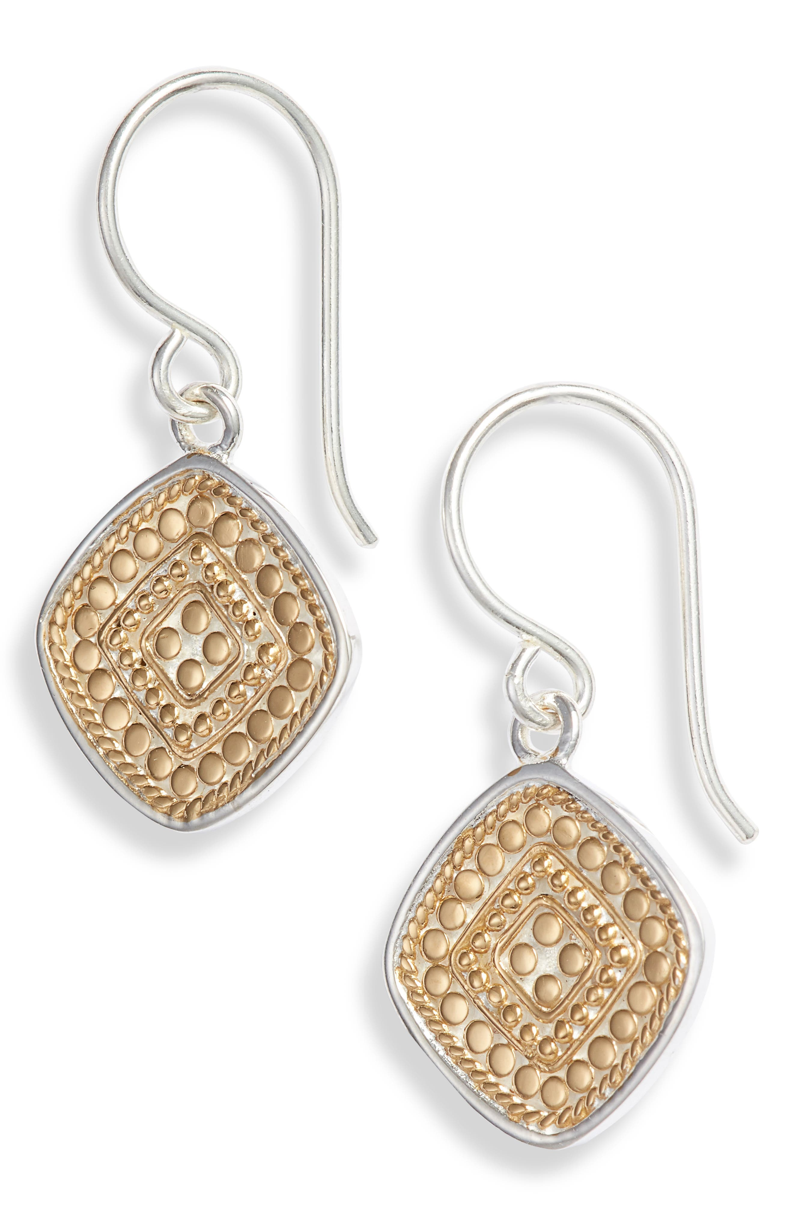 ANNA BECK Beaded Drop Earrings in Gold/ Silver