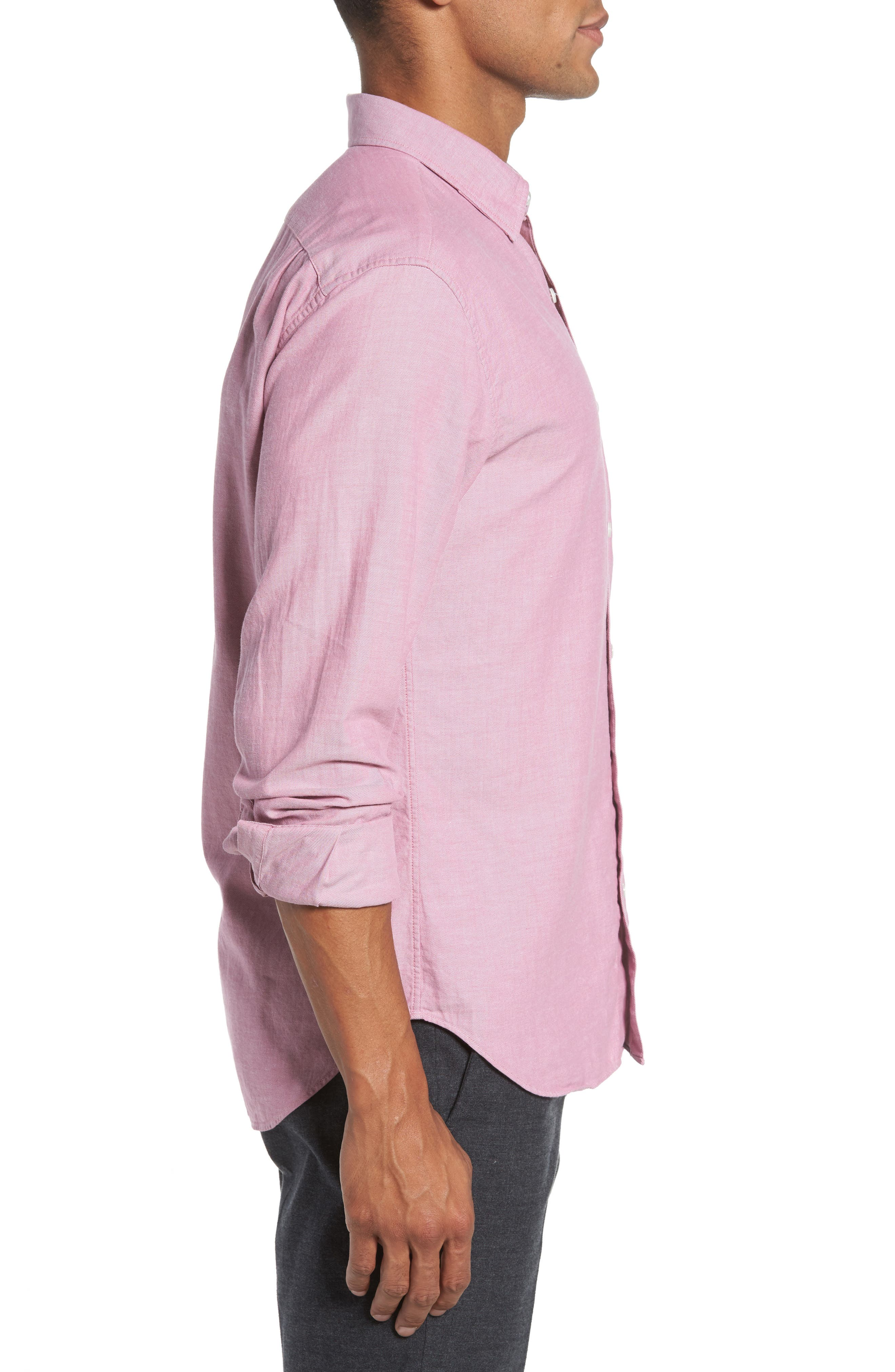 Slim Fit Brushed Twill Sport Shirt,                             Alternate thumbnail 3, color,                             650