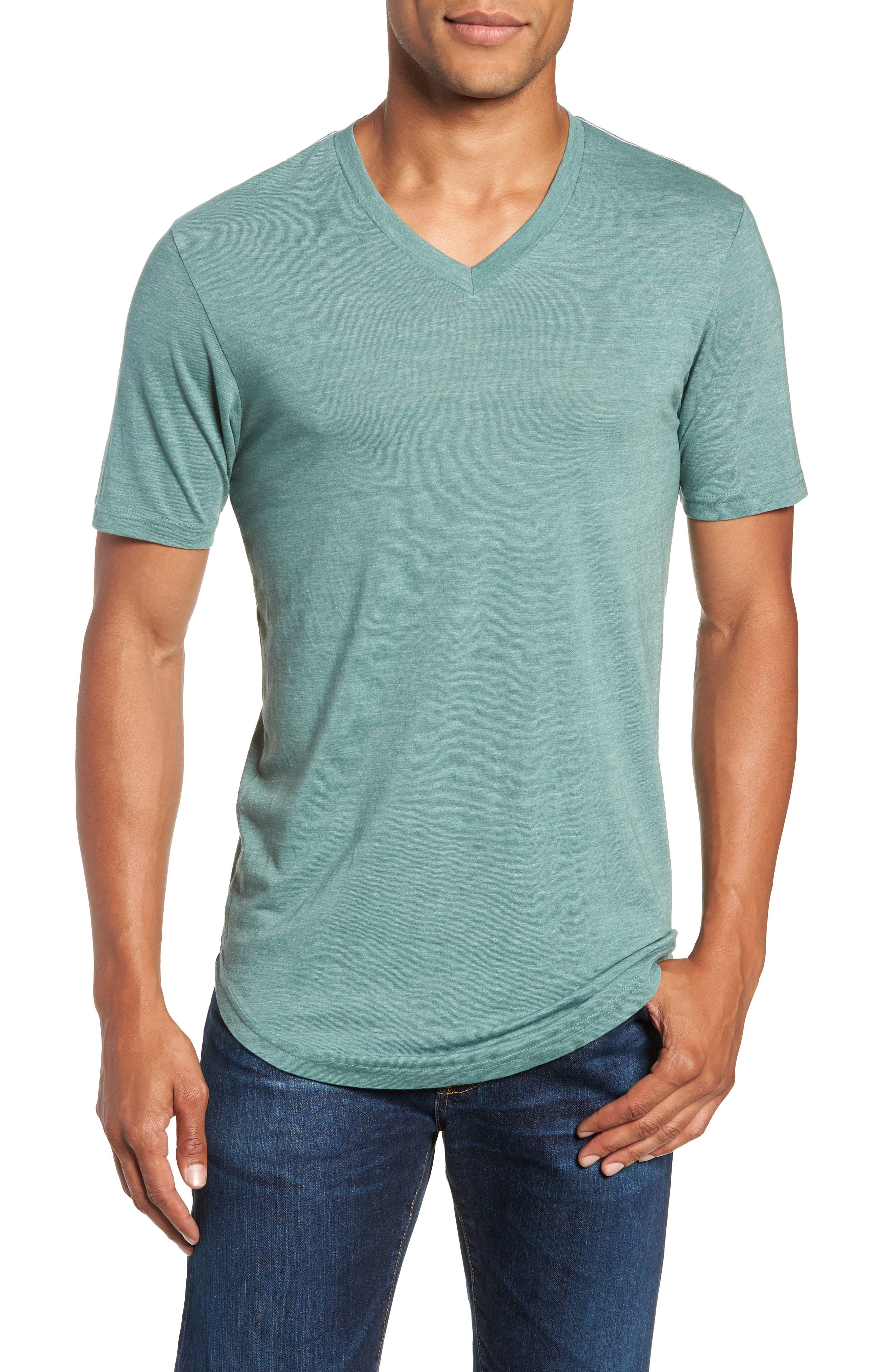 Scallop Triblend V-Neck T-Shirt,                             Main thumbnail 5, color,