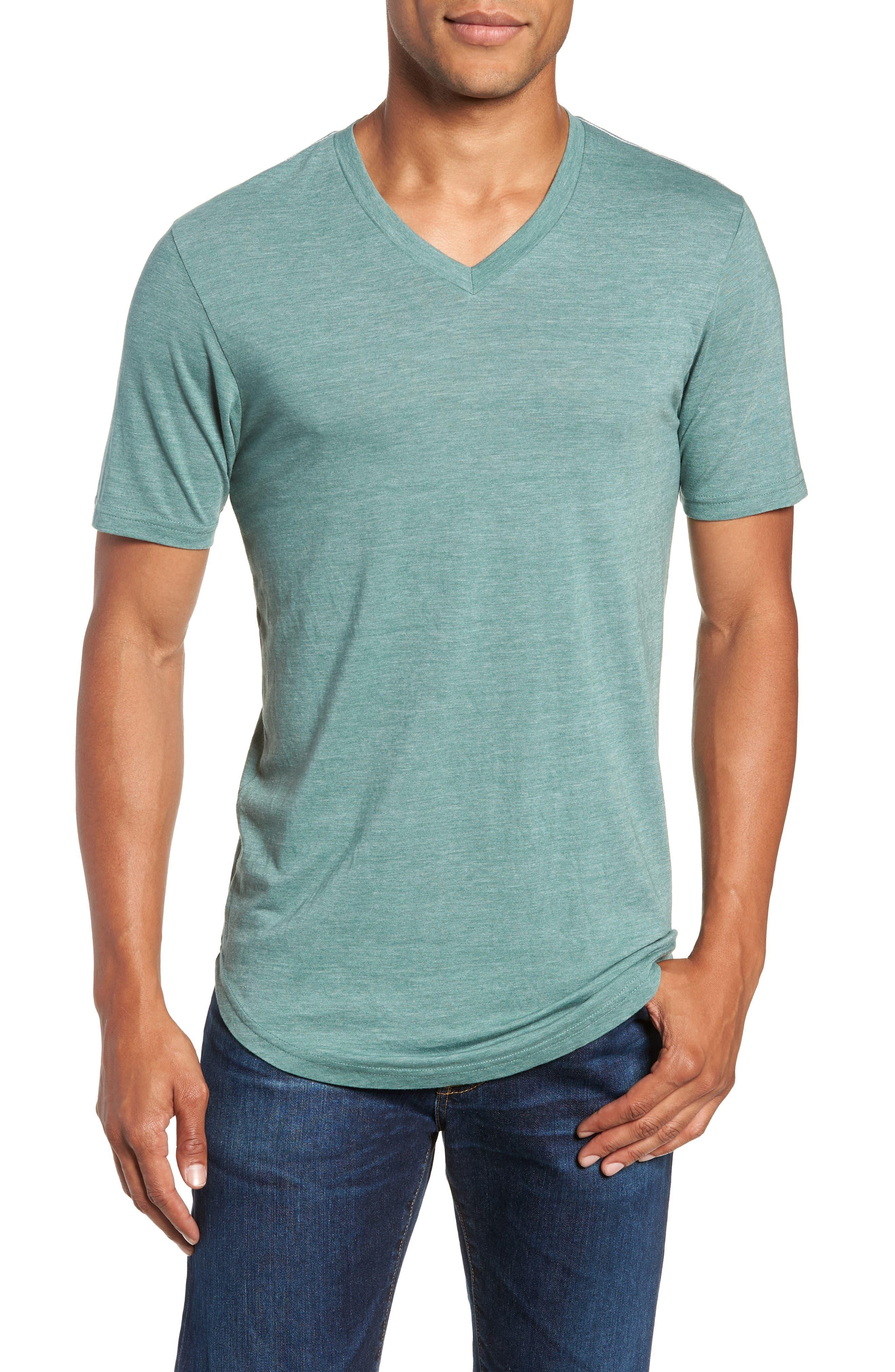 Scallop Triblend V-Neck T-Shirt,                         Main,                         color, PINE