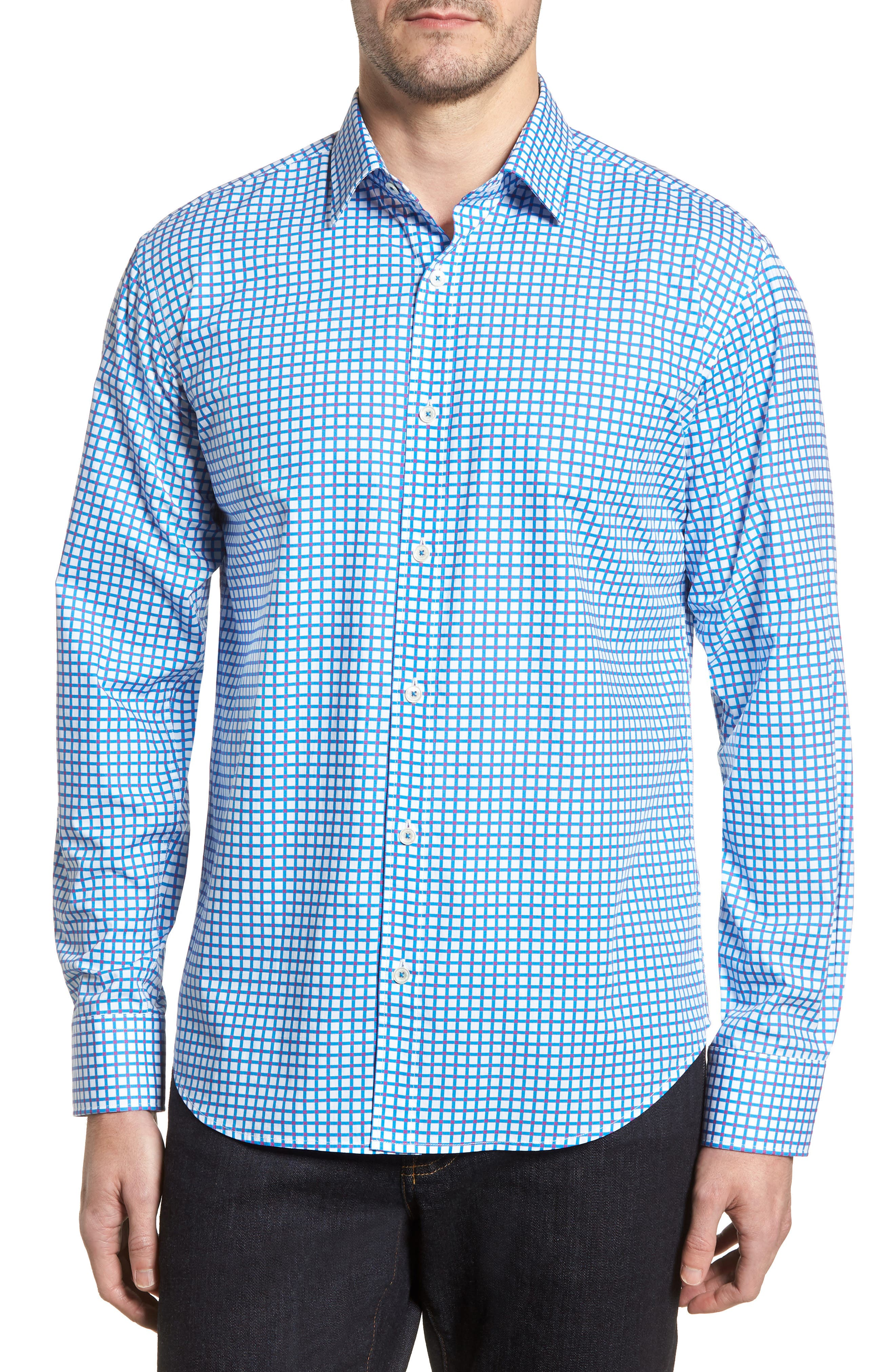 Classic Fit Dot Check Sport Shirt,                         Main,                         color, TURQUOISE