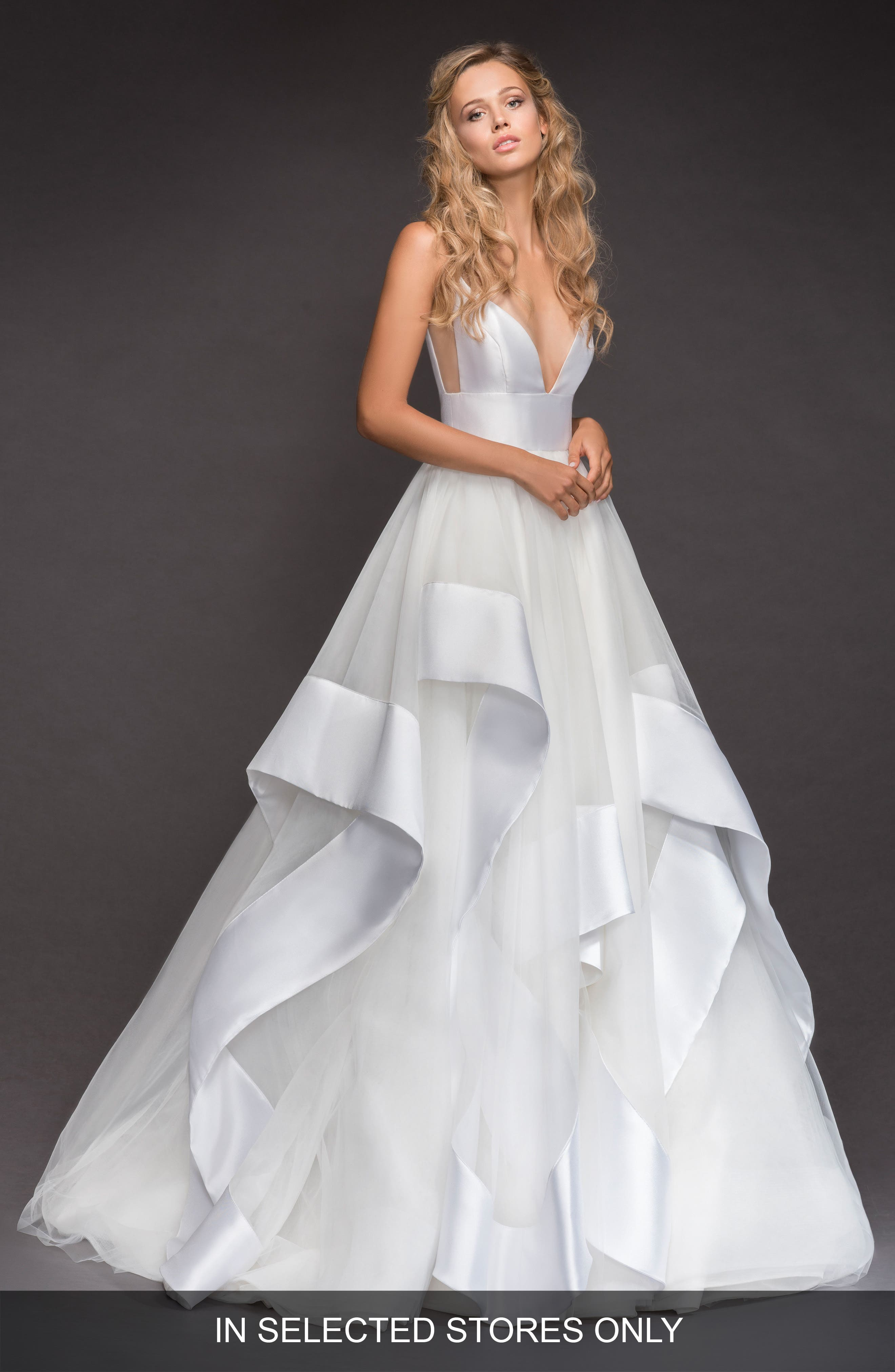 Andi Sweetheart Mikado & Tulle Ballgown,                         Main,                         color, IVORY