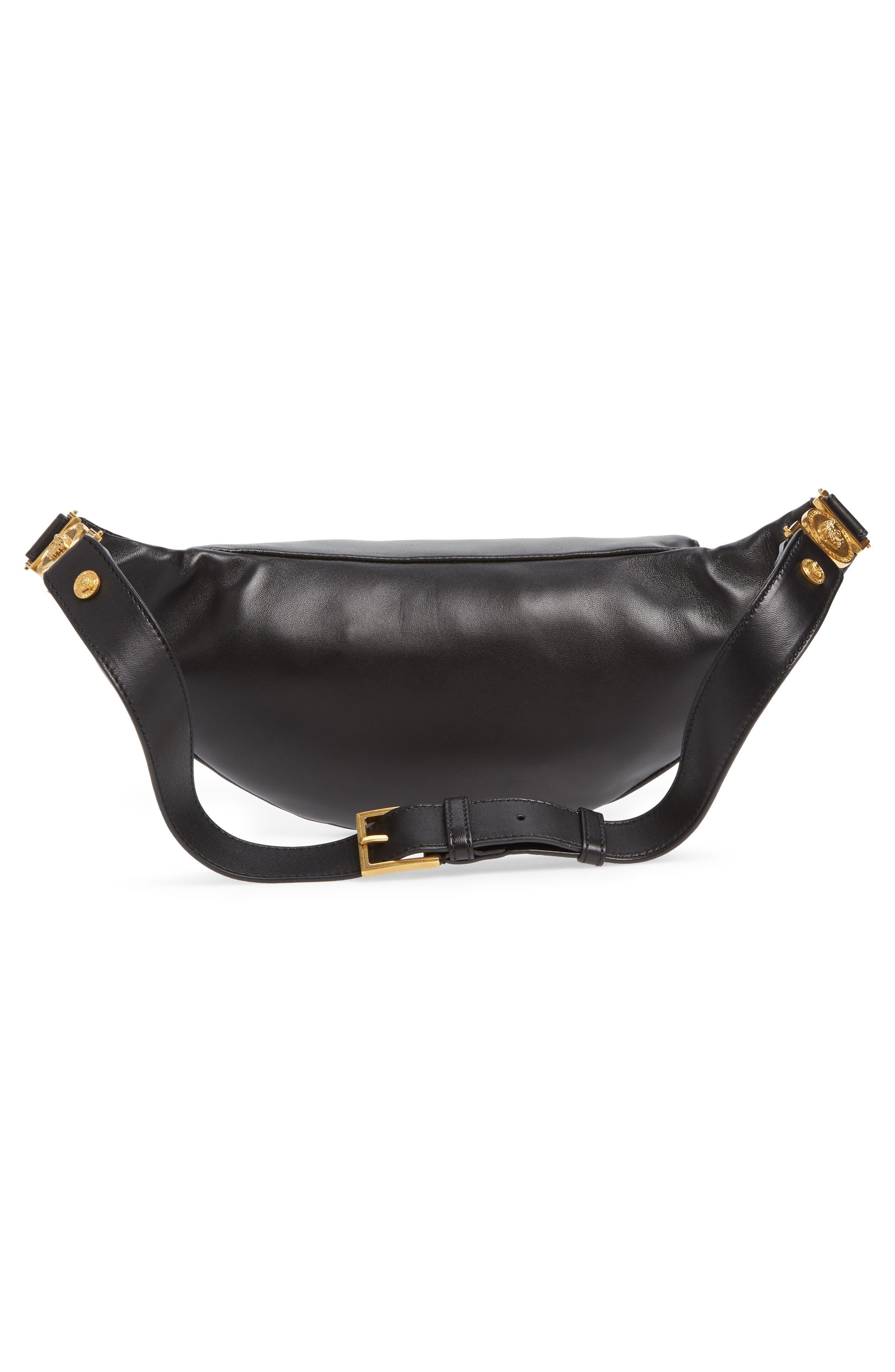 VERSACE COLLECTION,                             Versace Crystal Embellished Leather Belt Bag,                             Alternate thumbnail 4, color,                             NERO
