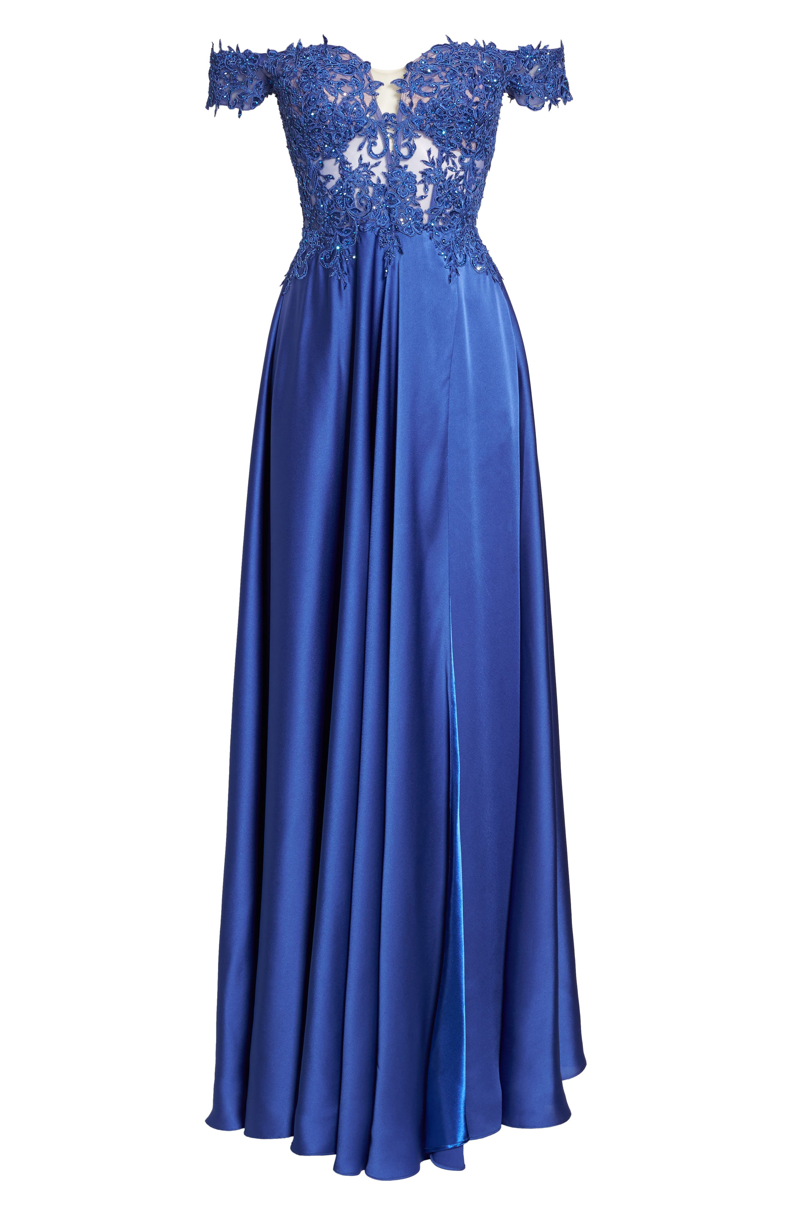 Embroidered Off the Shoulder Satin A-Line Gown,                             Alternate thumbnail 6, color,                             400