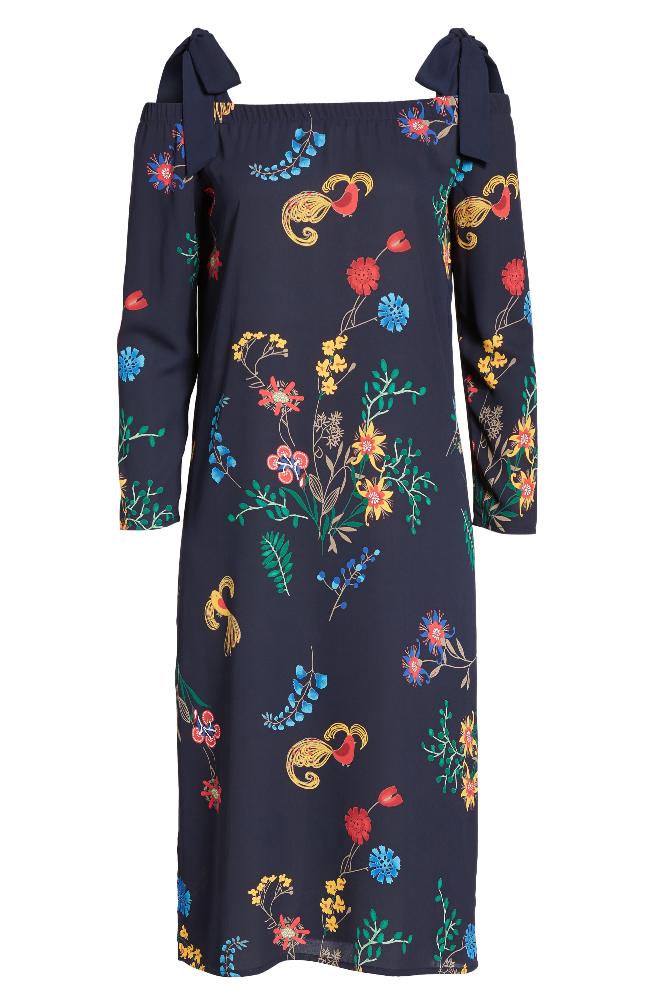 Print Off the Shoulder Midi Dress,                             Alternate thumbnail 6, color,                             410