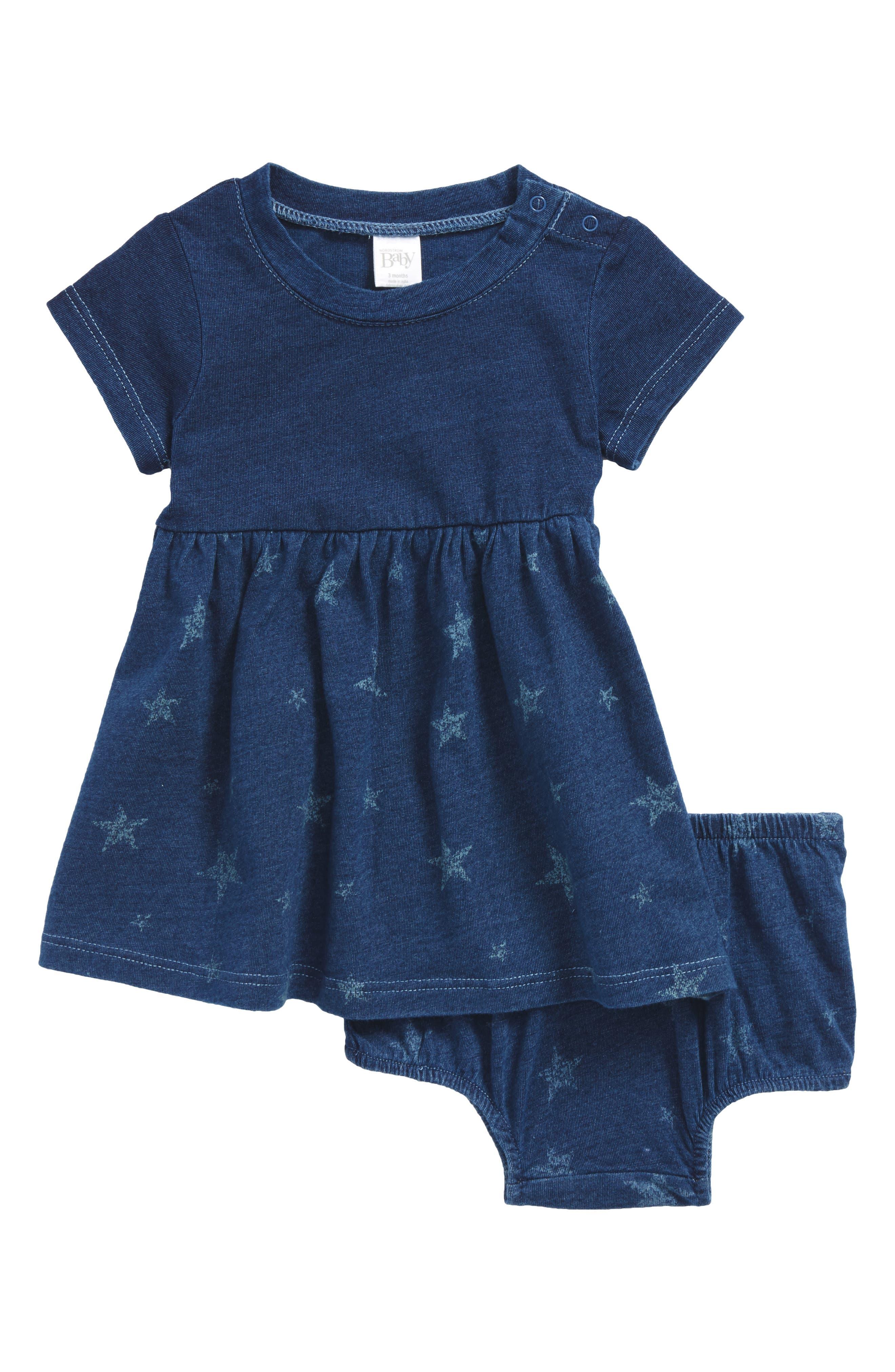 Star Print Knit Dress,                         Main,                         color, 401