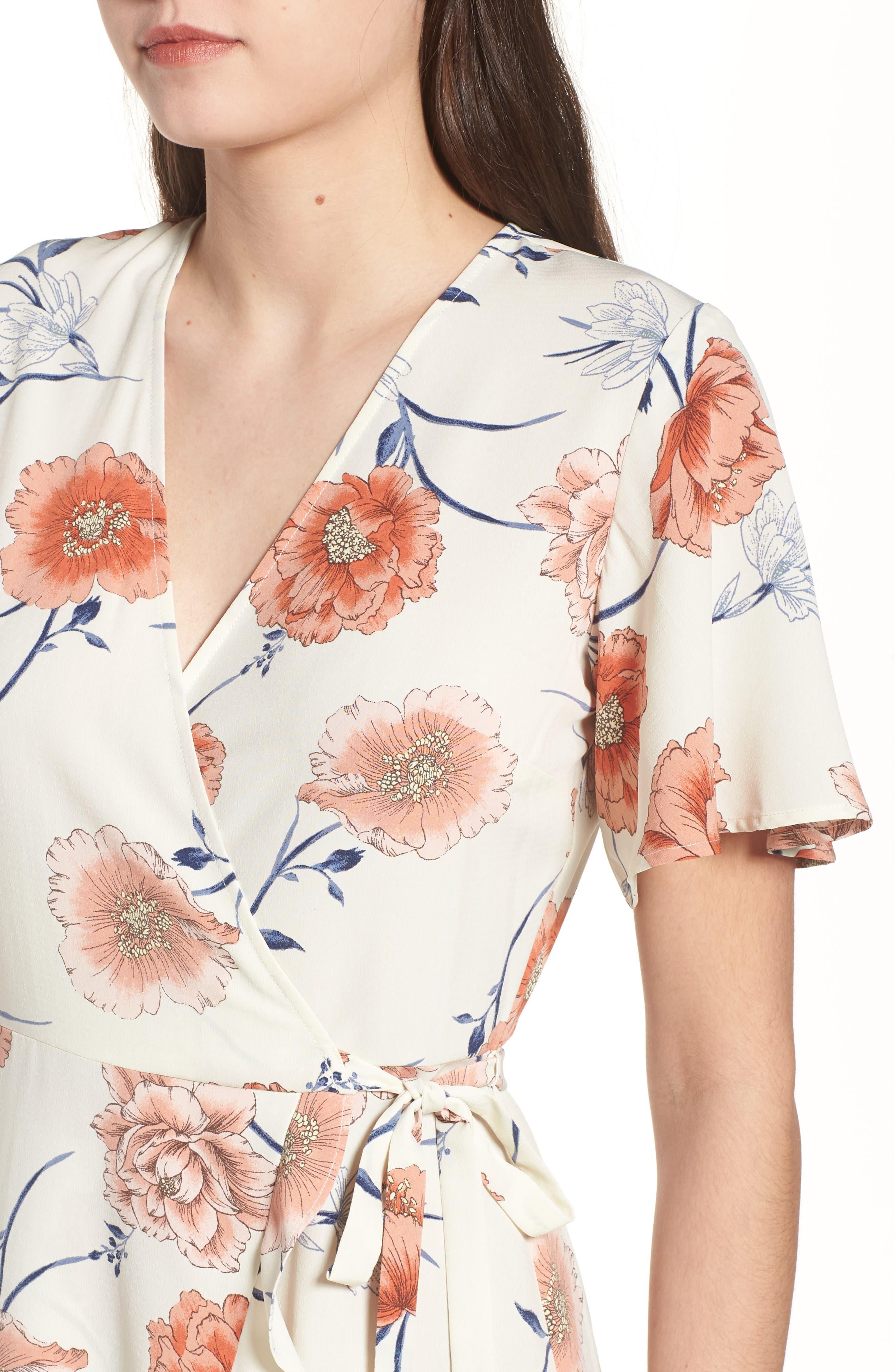 Lucy Floral Wrap Dress,                             Alternate thumbnail 16, color,