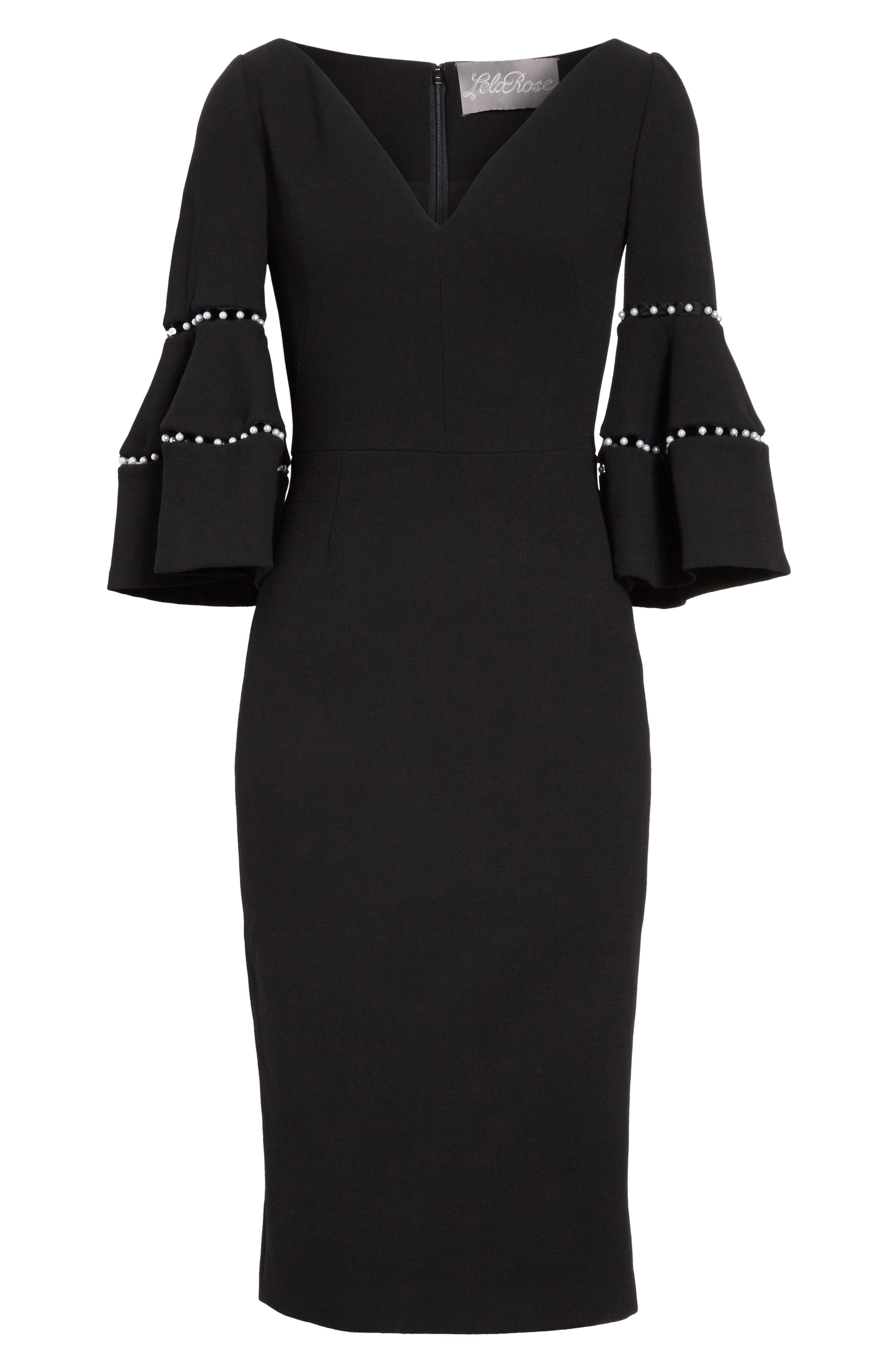 Pearly Trim Bell Sleeve Dress,                             Alternate thumbnail 6, color,                             001