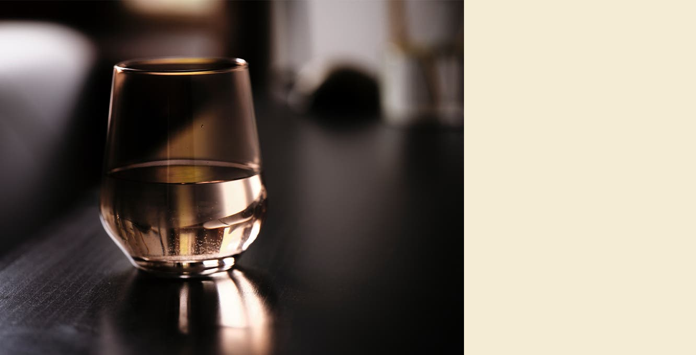 A stemless wineglass.