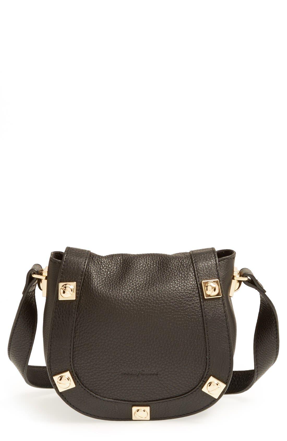 'Mini Sadie' Leather Crossbody Bag, Main, color, 001