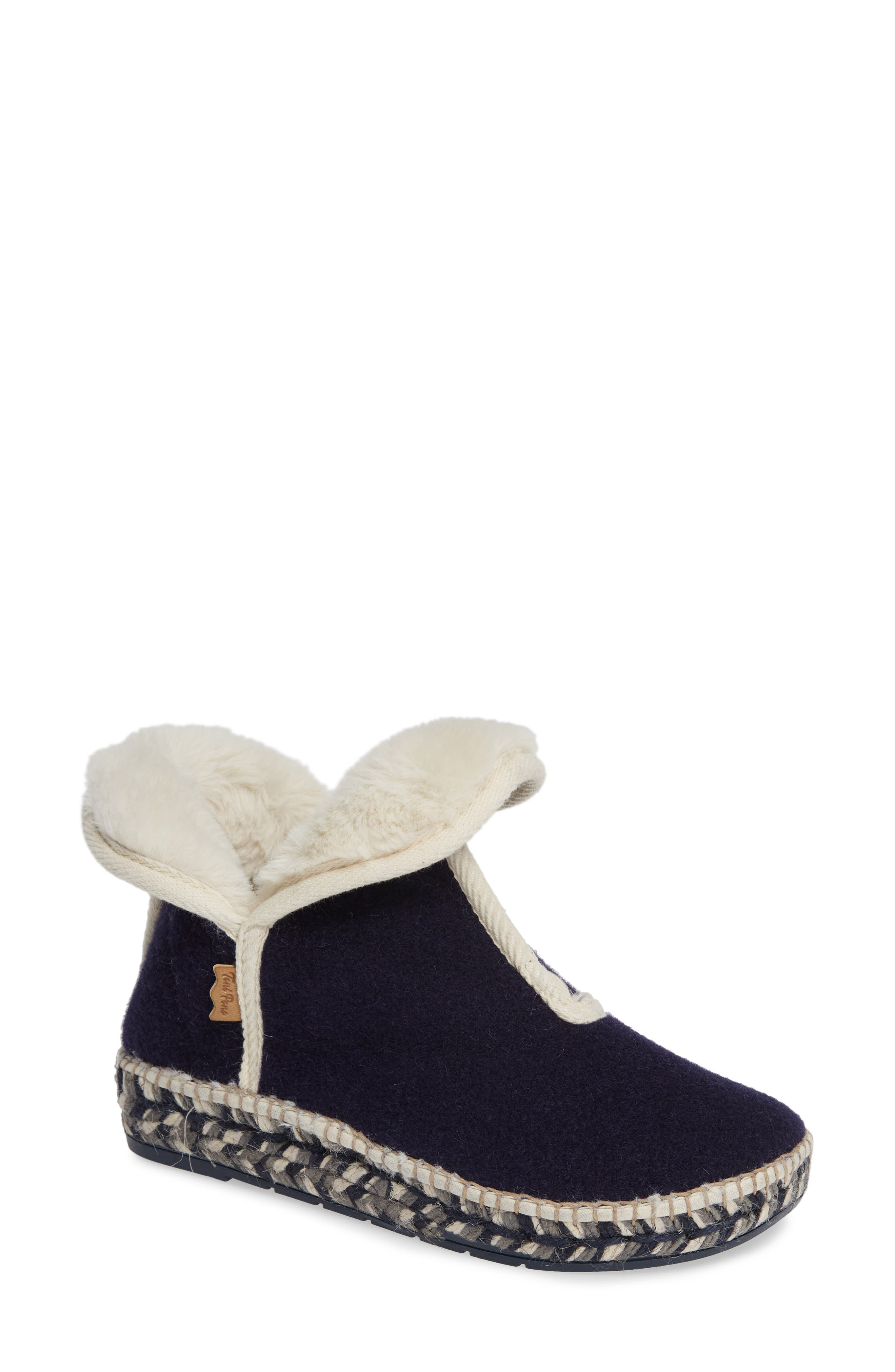 TONI PONS Espadrille Platform Bootie With Faux Fur Lining in Navy Fabric