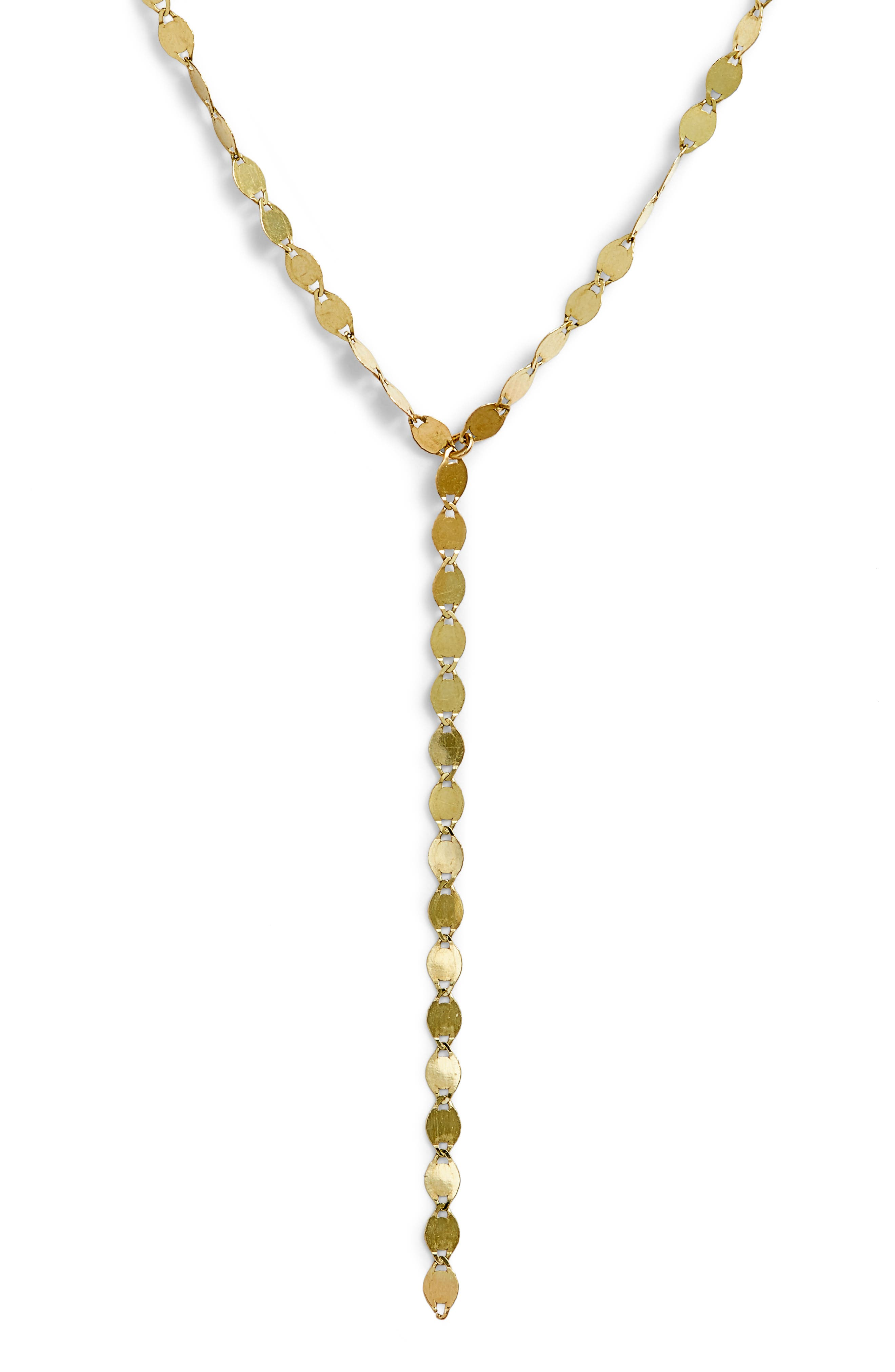 Mini Chain Lariat Necklace,                             Main thumbnail 1, color,                             YELLOW GOLD
