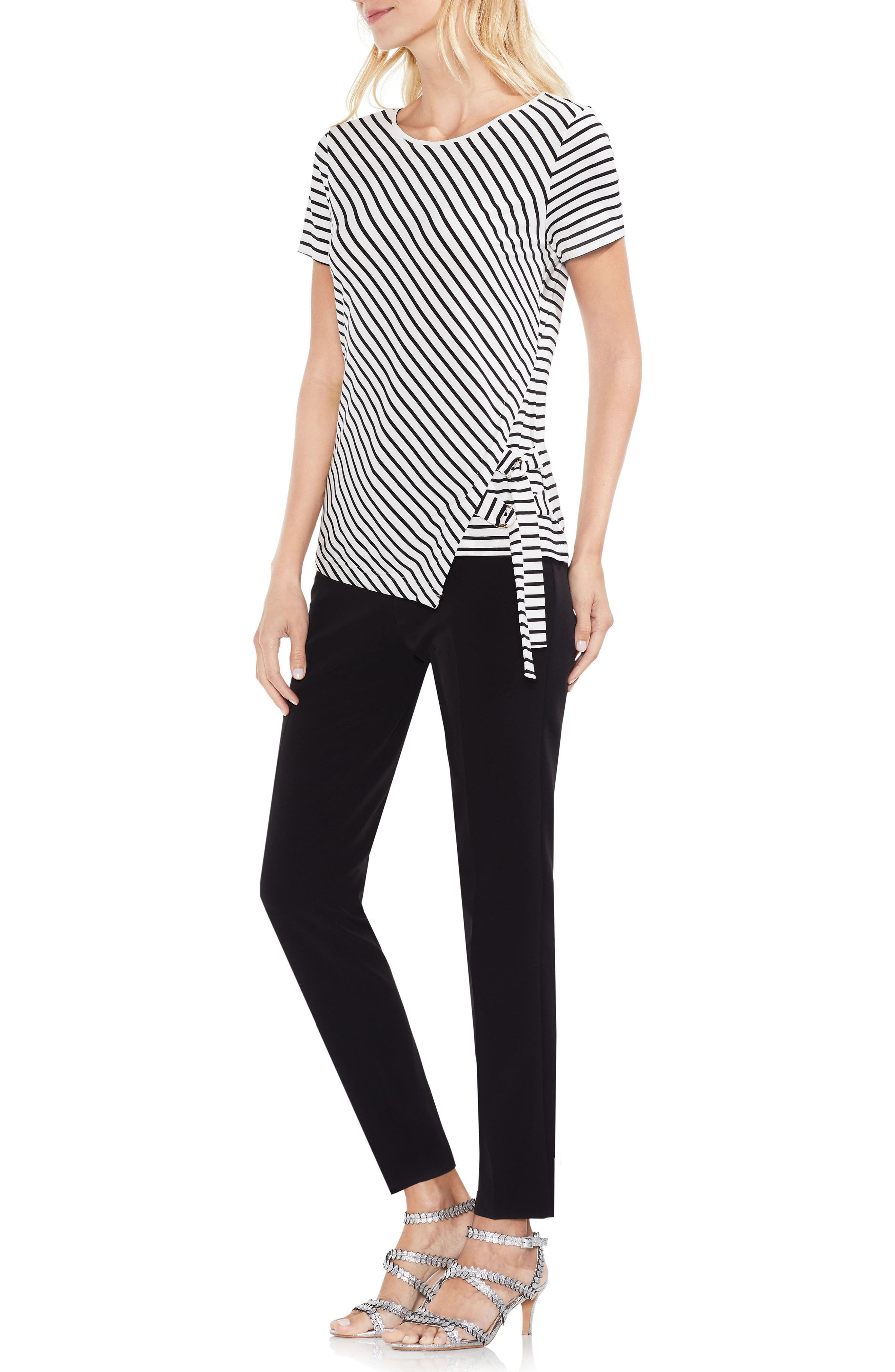 Faux Wrap Stripe Tee,                             Alternate thumbnail 4, color,                             103