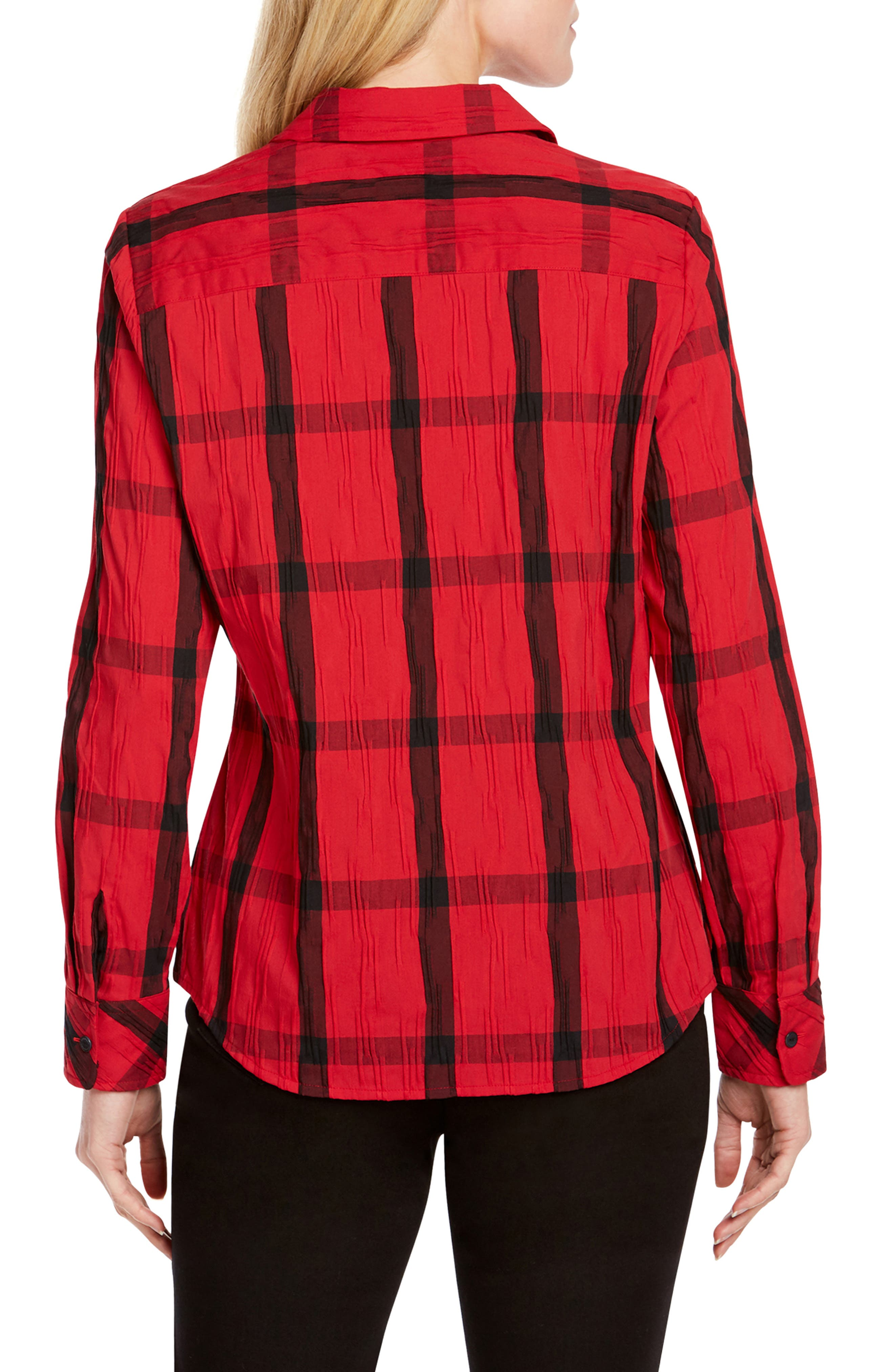Mary in Crinkle Windowpane Shirt,                             Alternate thumbnail 2, color,                             RED LACQUER