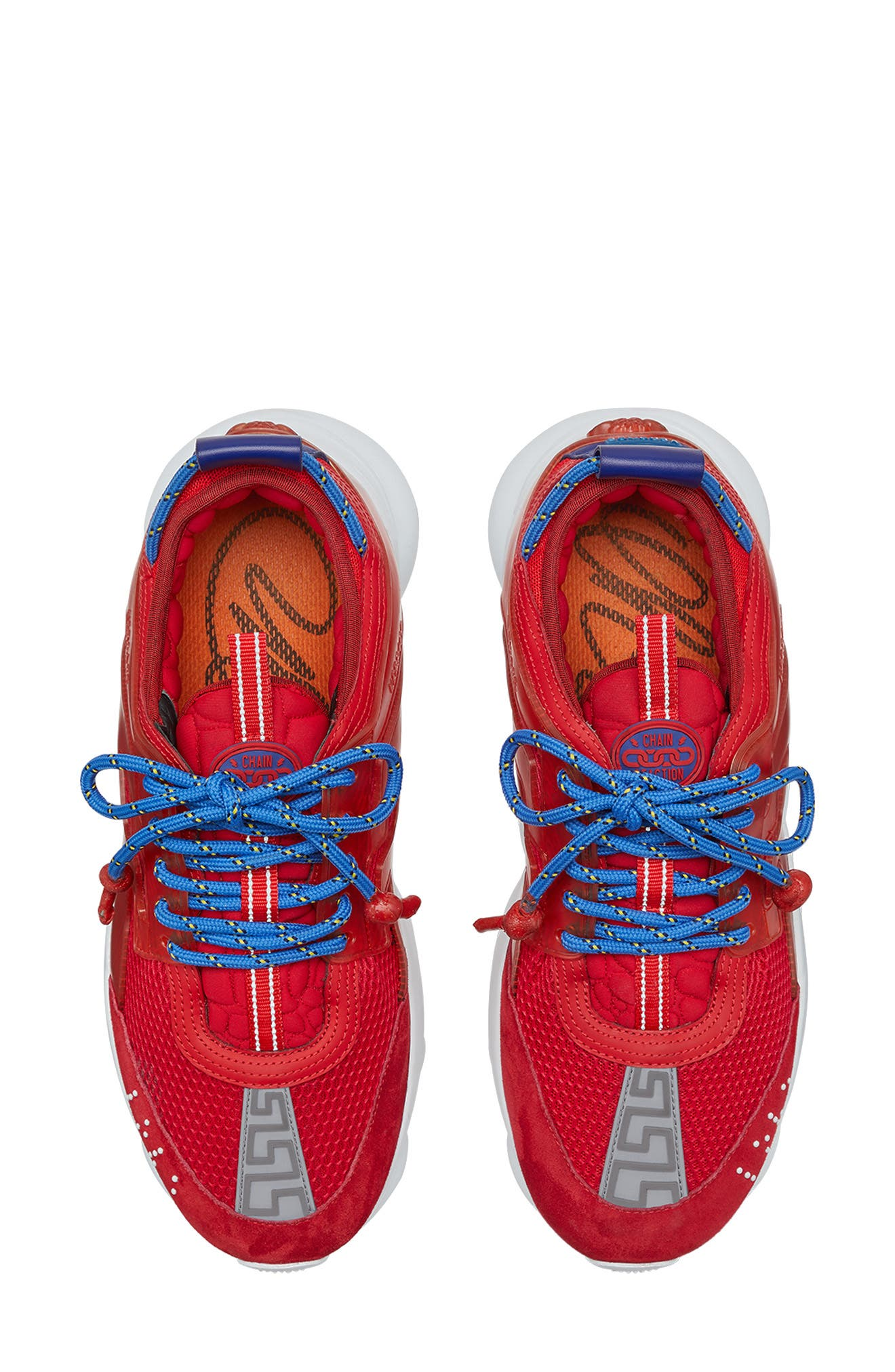 Versace Chain Reaction Sneaker,                             Alternate thumbnail 3, color,                             RED