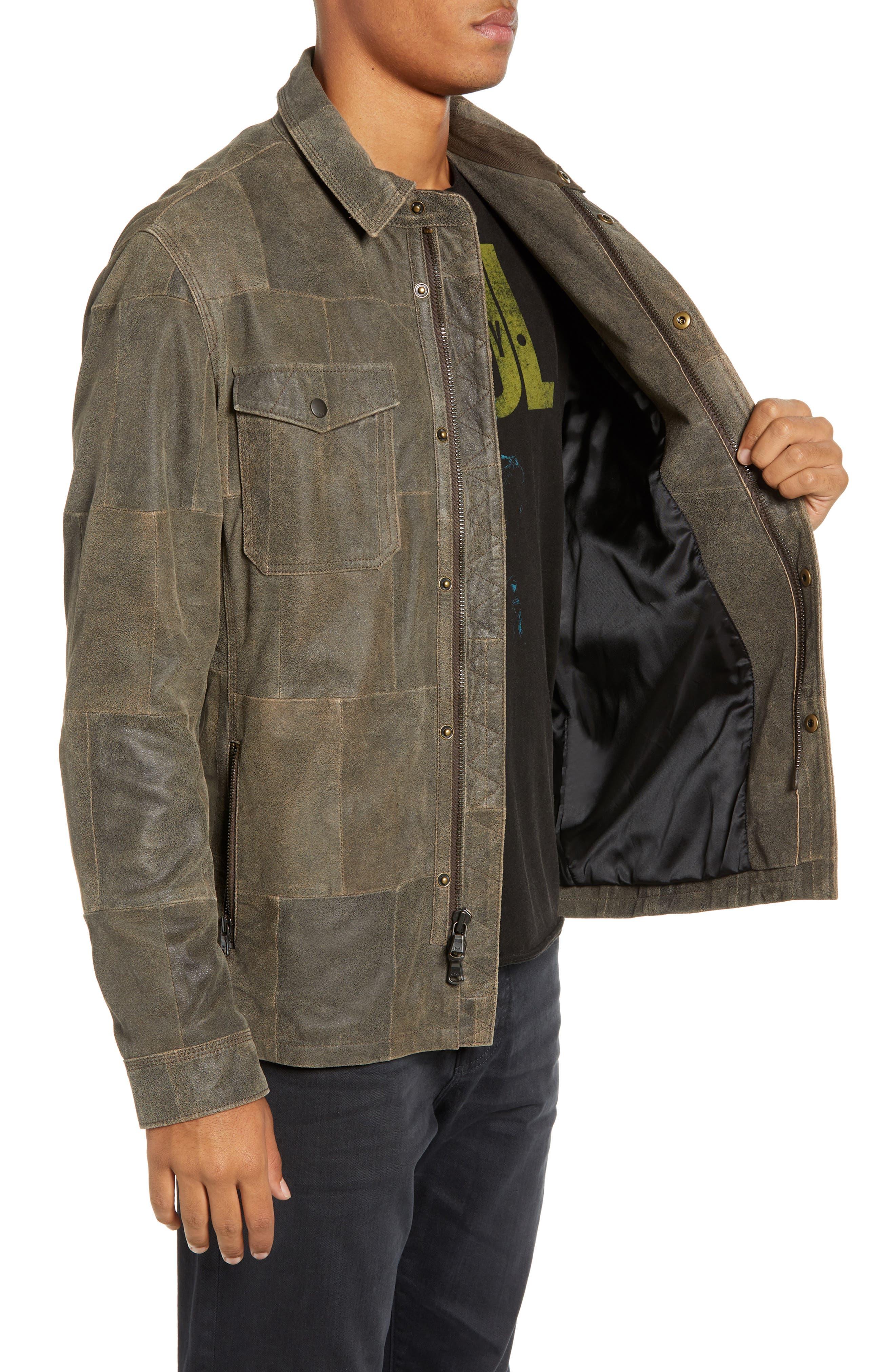 JOHN VARVATOS STAR USA,                             Patchwork Goat Leather Jacket,                             Alternate thumbnail 3, color,                             RYE