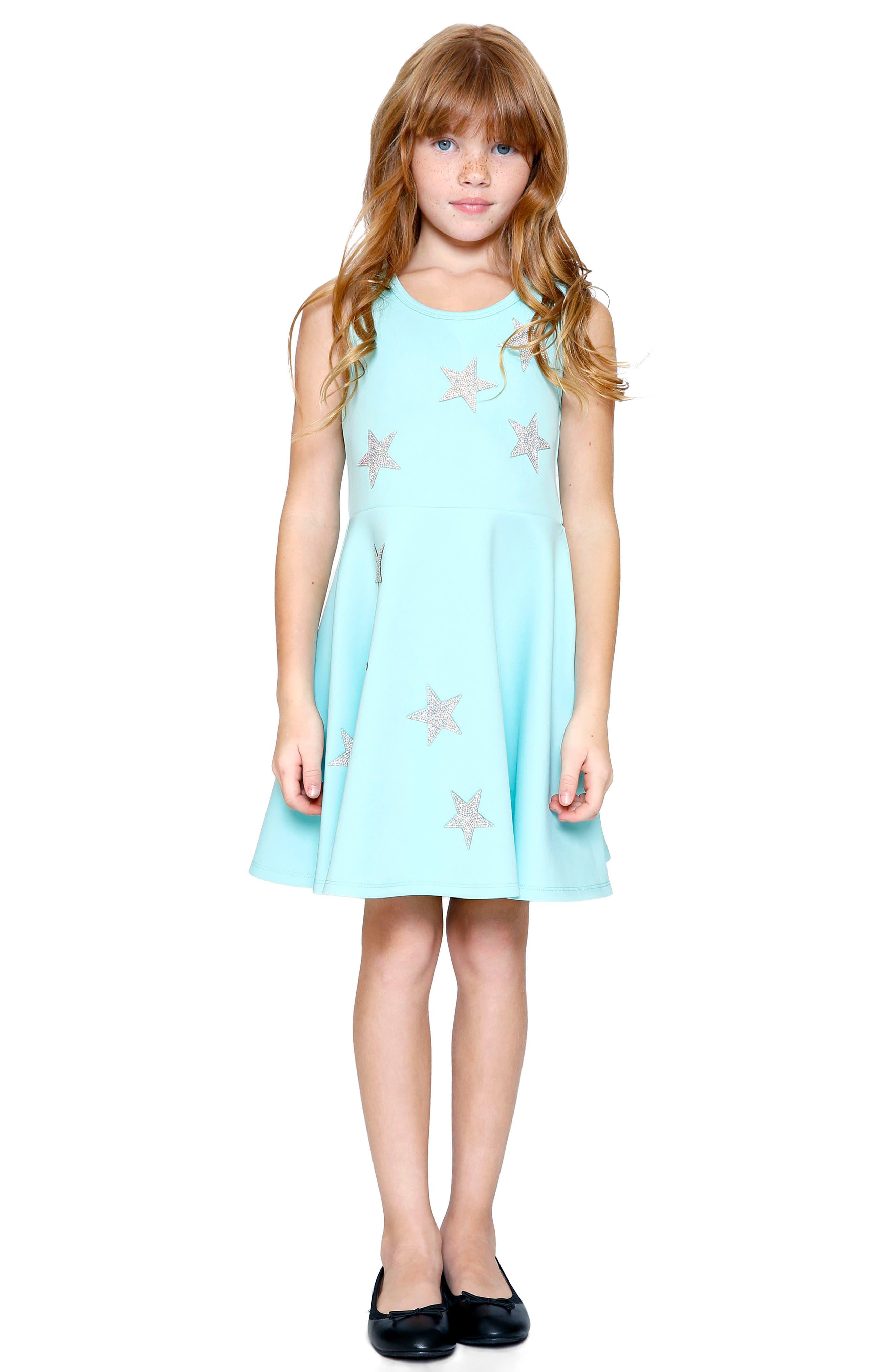 Star Appliqué Skater Dress,                         Main,                         color,