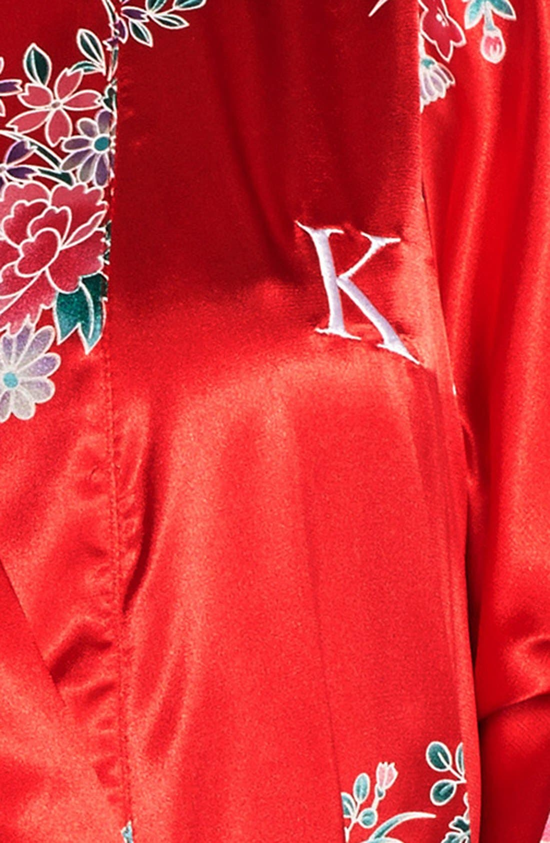 Monogram Floral Satin Robe,                             Alternate thumbnail 141, color,