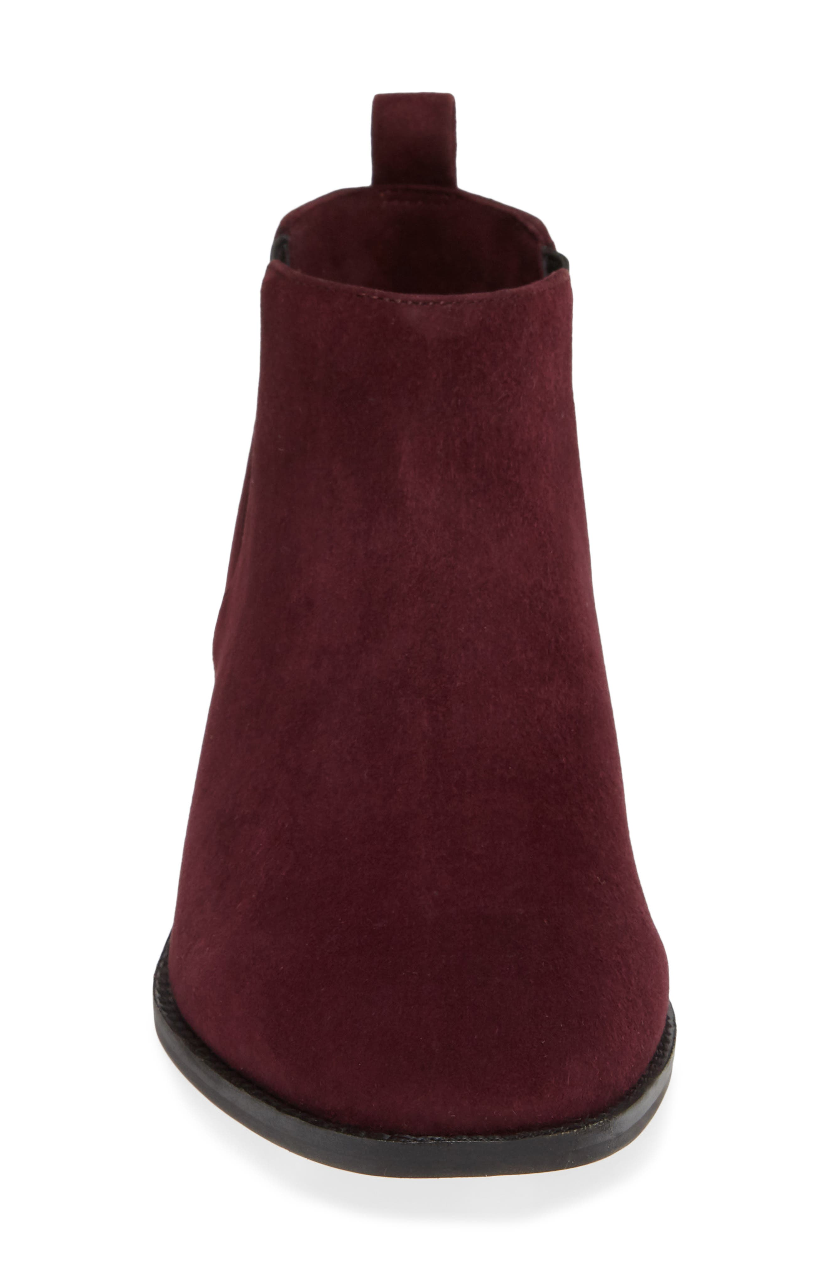 Jahlily Chelsea Bootie,                             Alternate thumbnail 4, color,                             DARK PLUM SUEDE