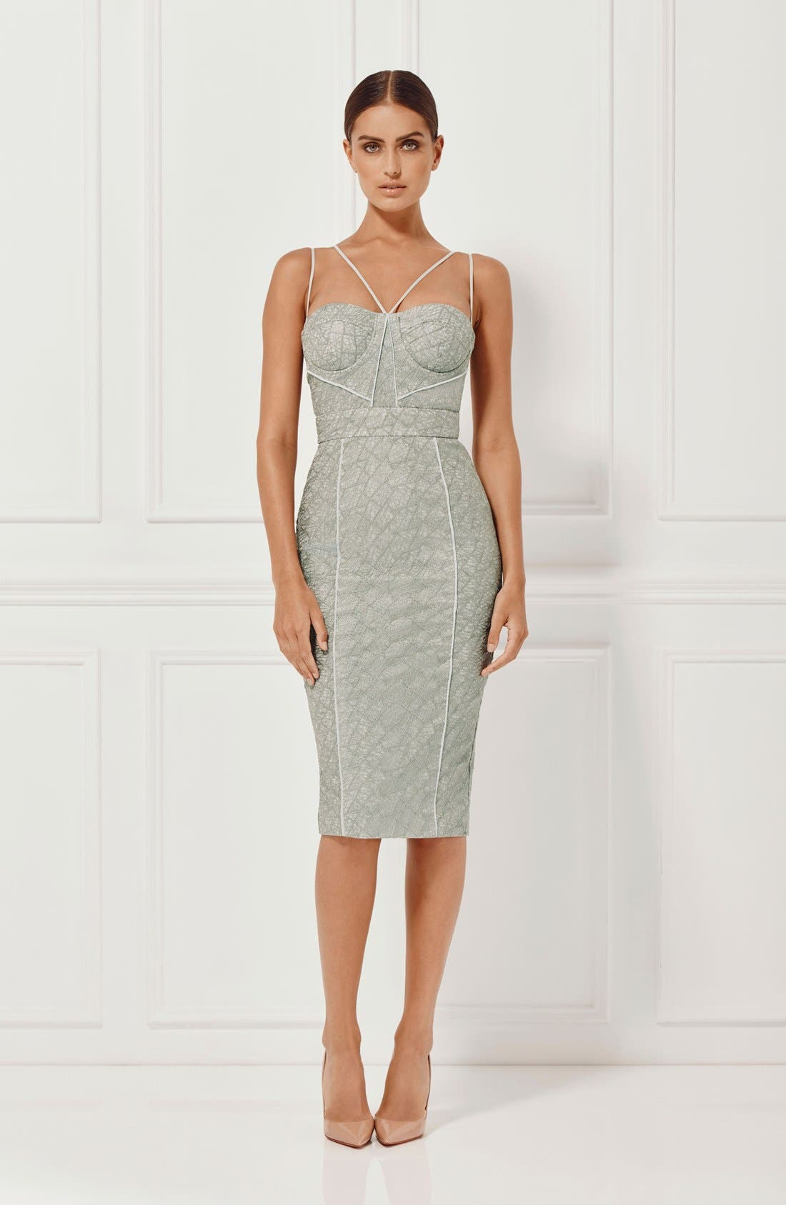 'Milly' Embroidered Mesh Midi Dress,                             Alternate thumbnail 2, color,                             230
