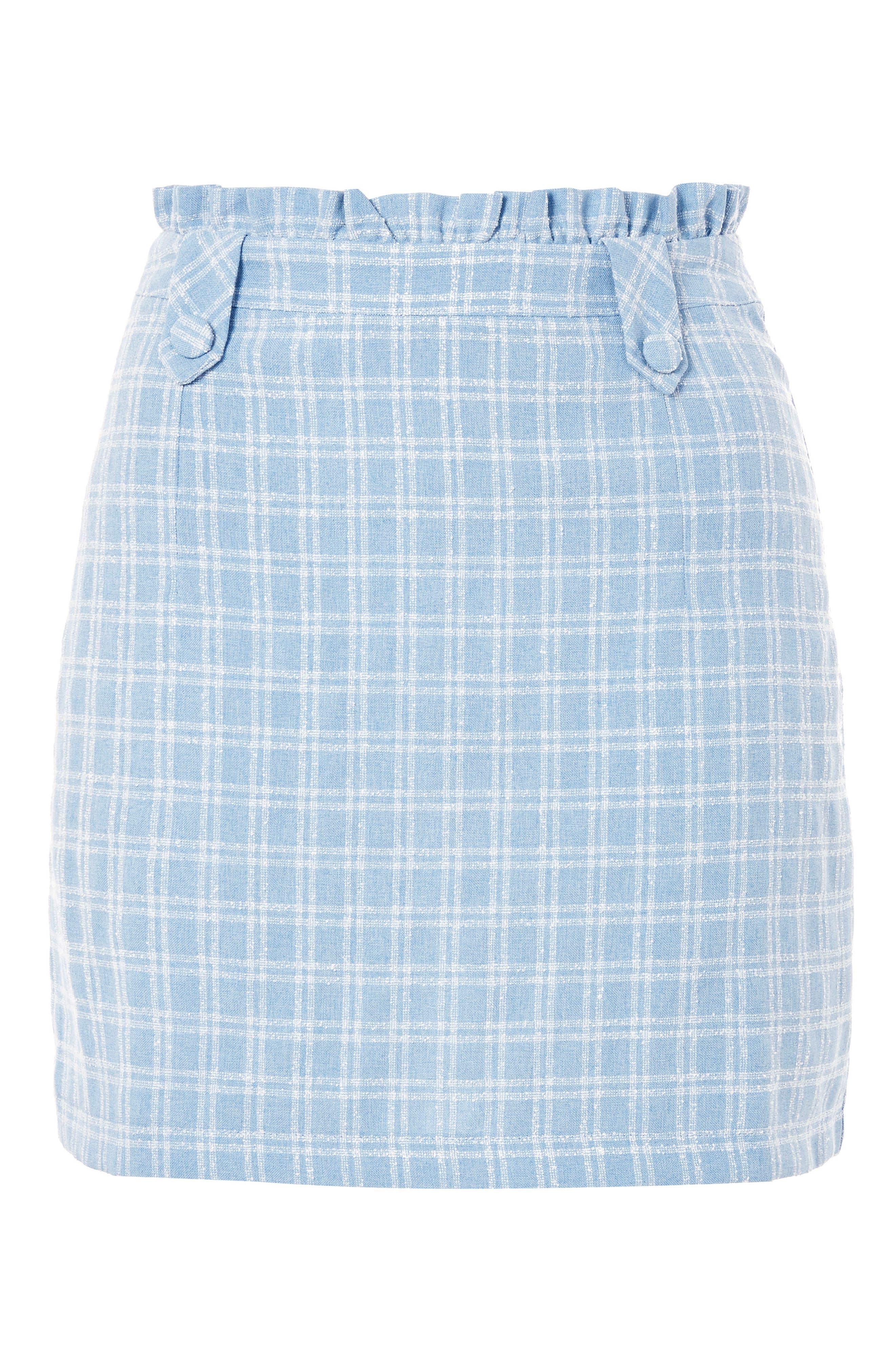 Check Bouclé Frill Miniskirt,                             Alternate thumbnail 3, color,                             450
