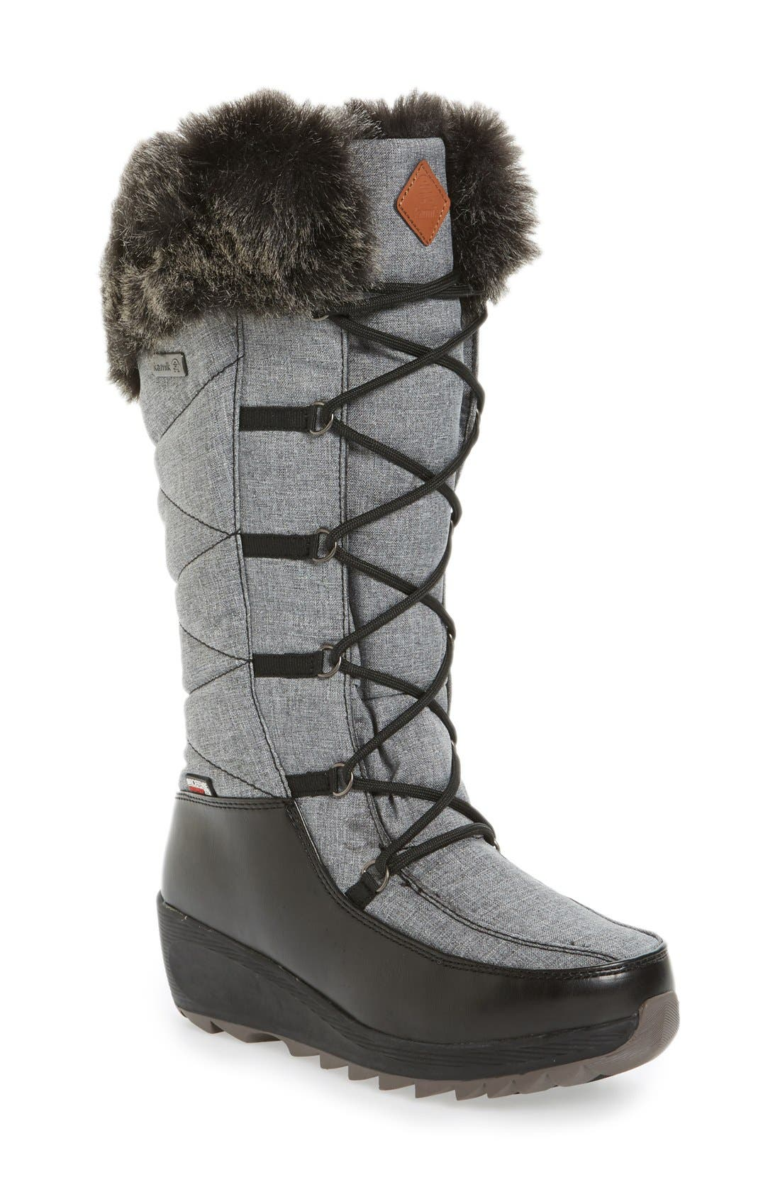 Pinot Waterproof Boot with Faux Fur Cuff,                         Main,                         color,