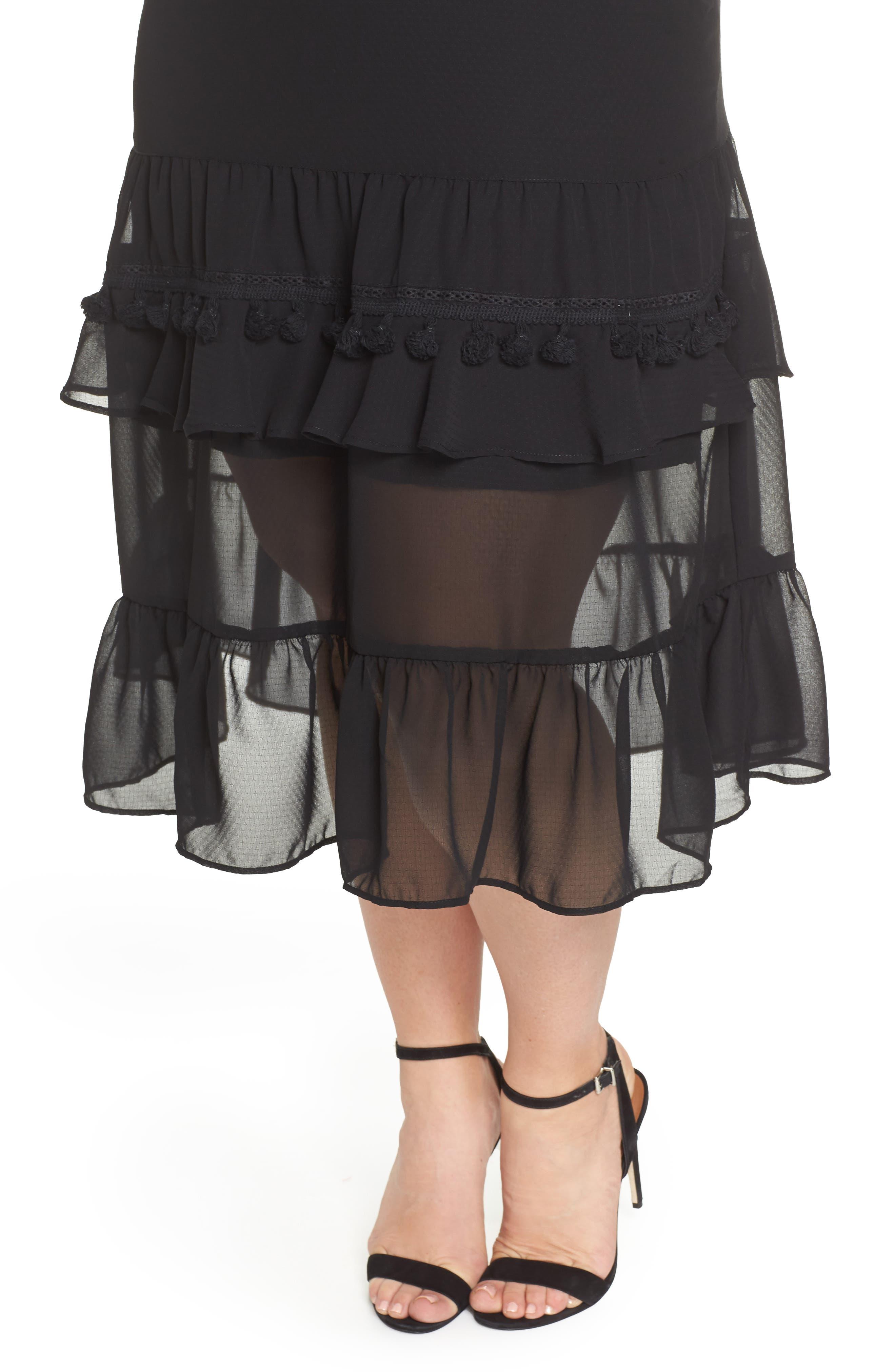 Tassel Trim Sheer Hem Dress,                             Alternate thumbnail 4, color,                             001