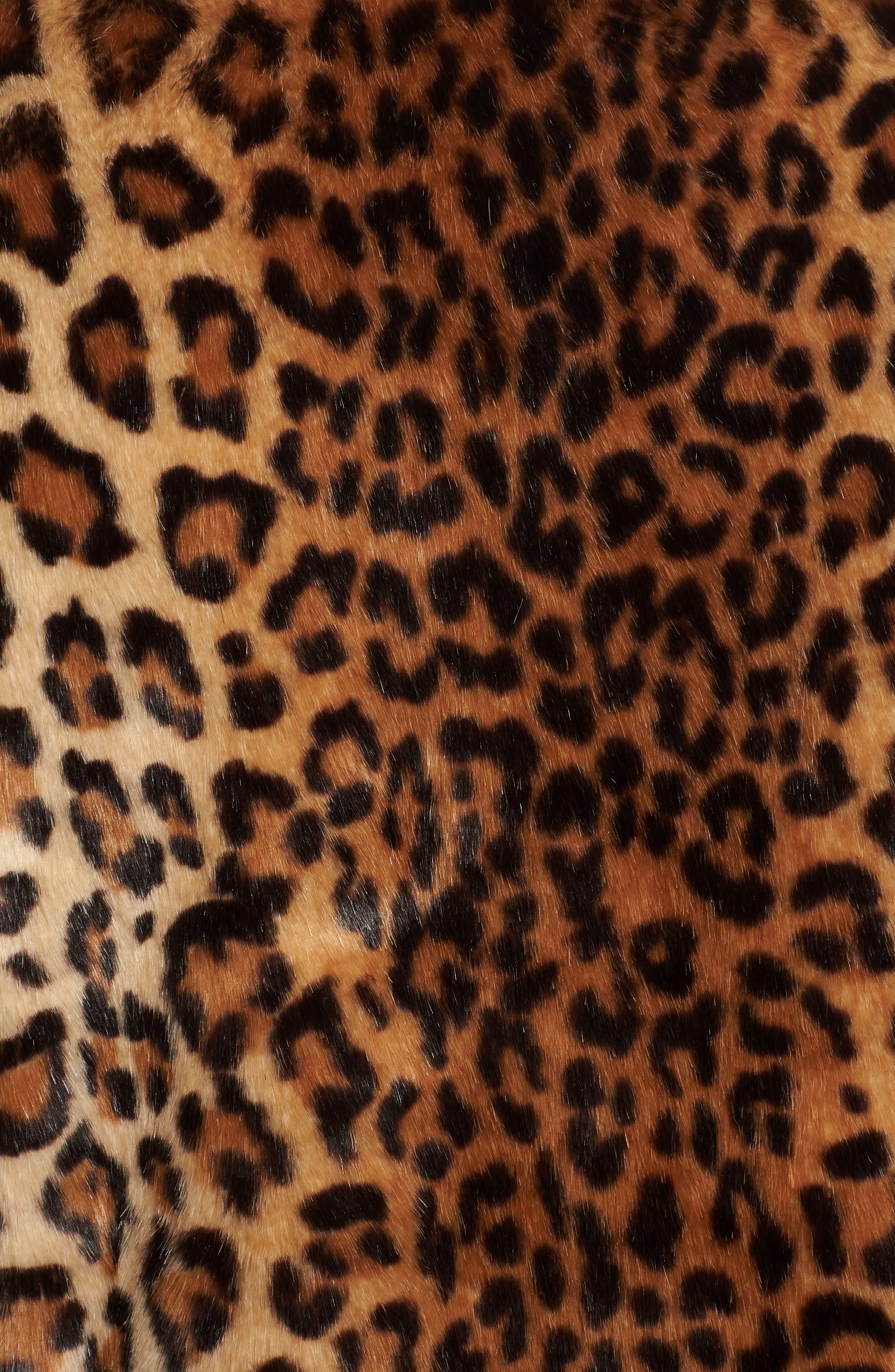 Faux Fur Moto Jacket,                             Alternate thumbnail 7, color,                             LEOPARD MULTI