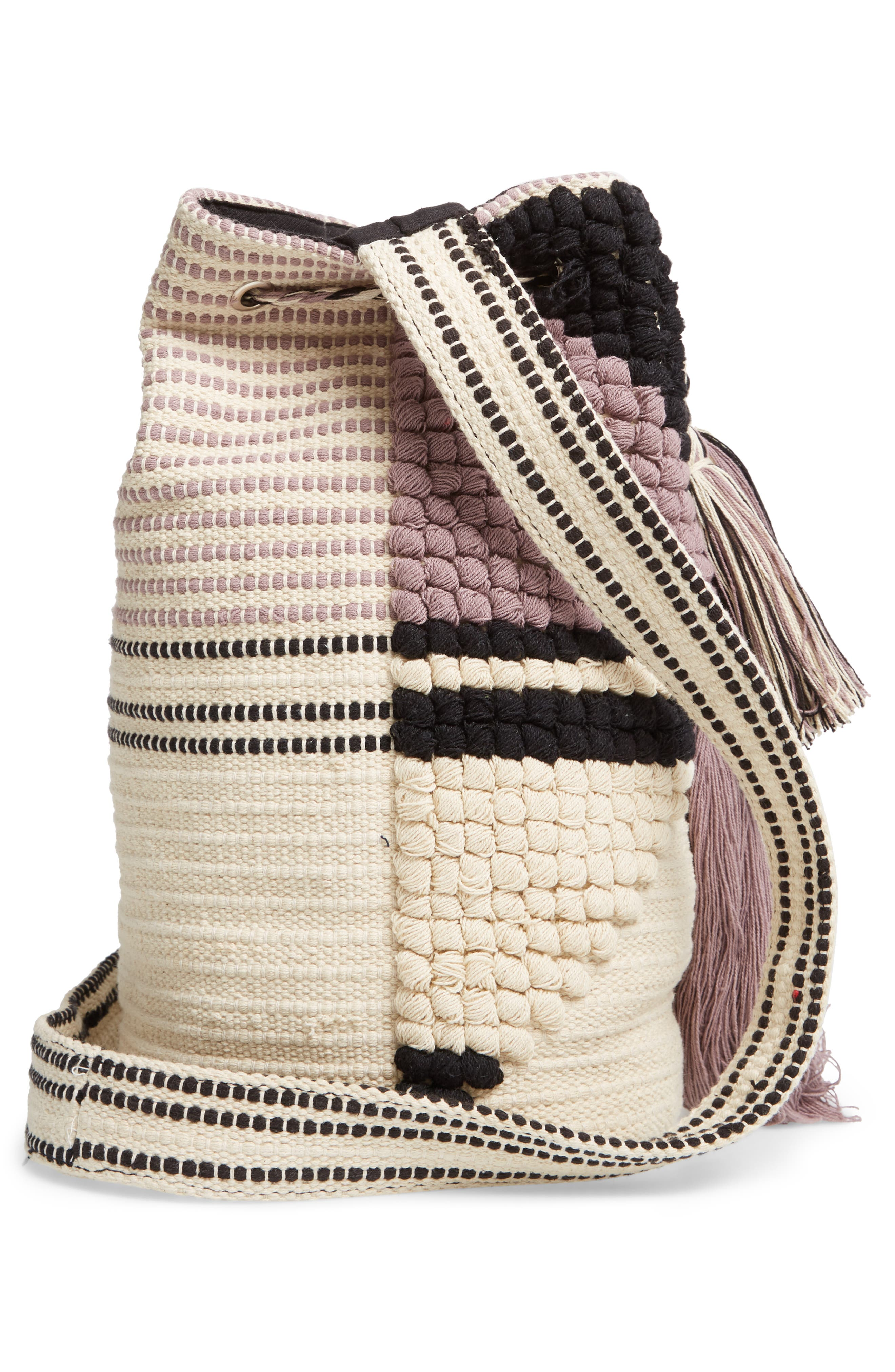 Halay Woven Bucket Bag,                             Alternate thumbnail 5, color,                             BLACK/ CREAM