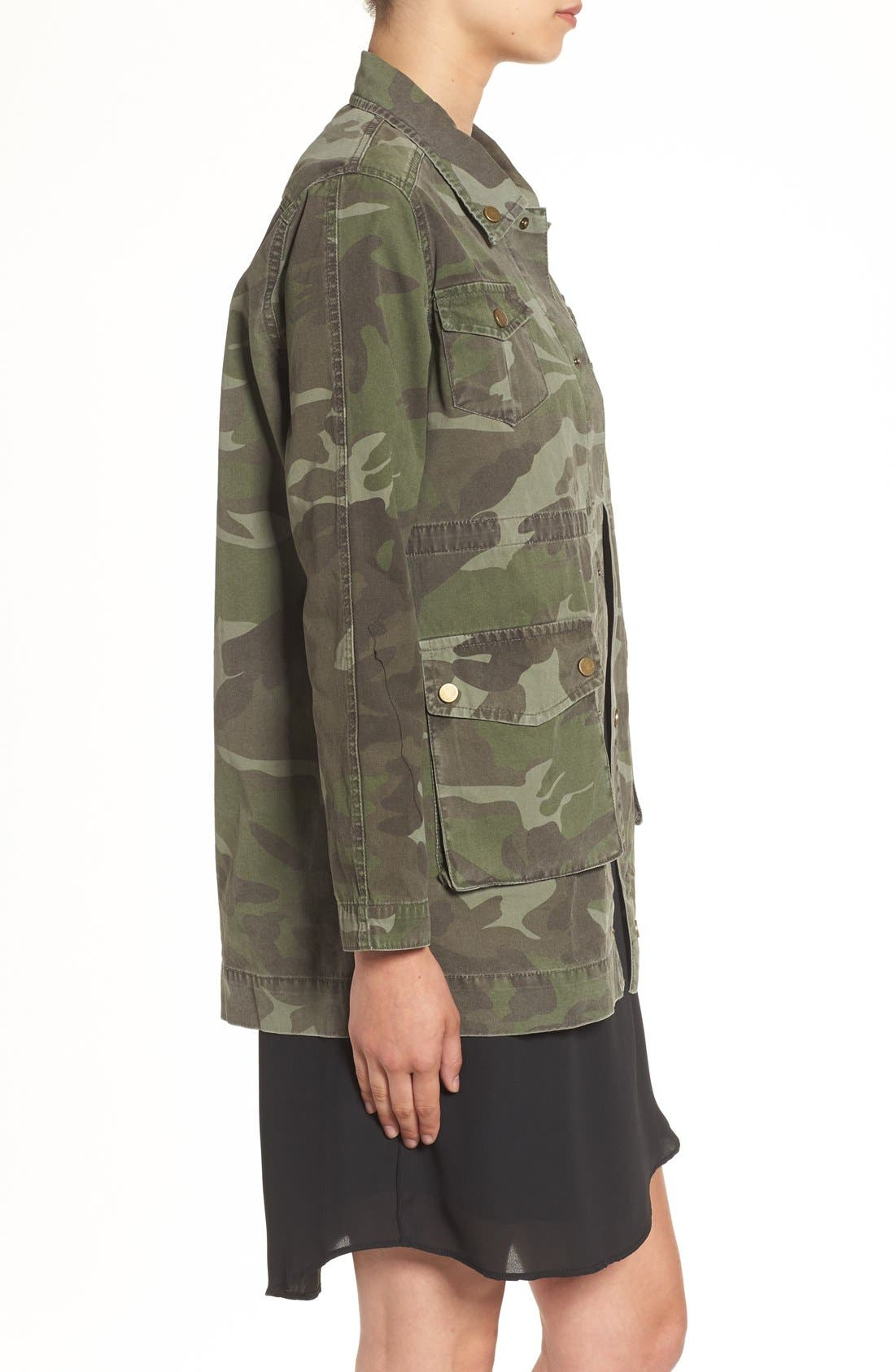 'Alexa' Camo Cotton Military Jacket,                             Alternate thumbnail 3, color,                             300