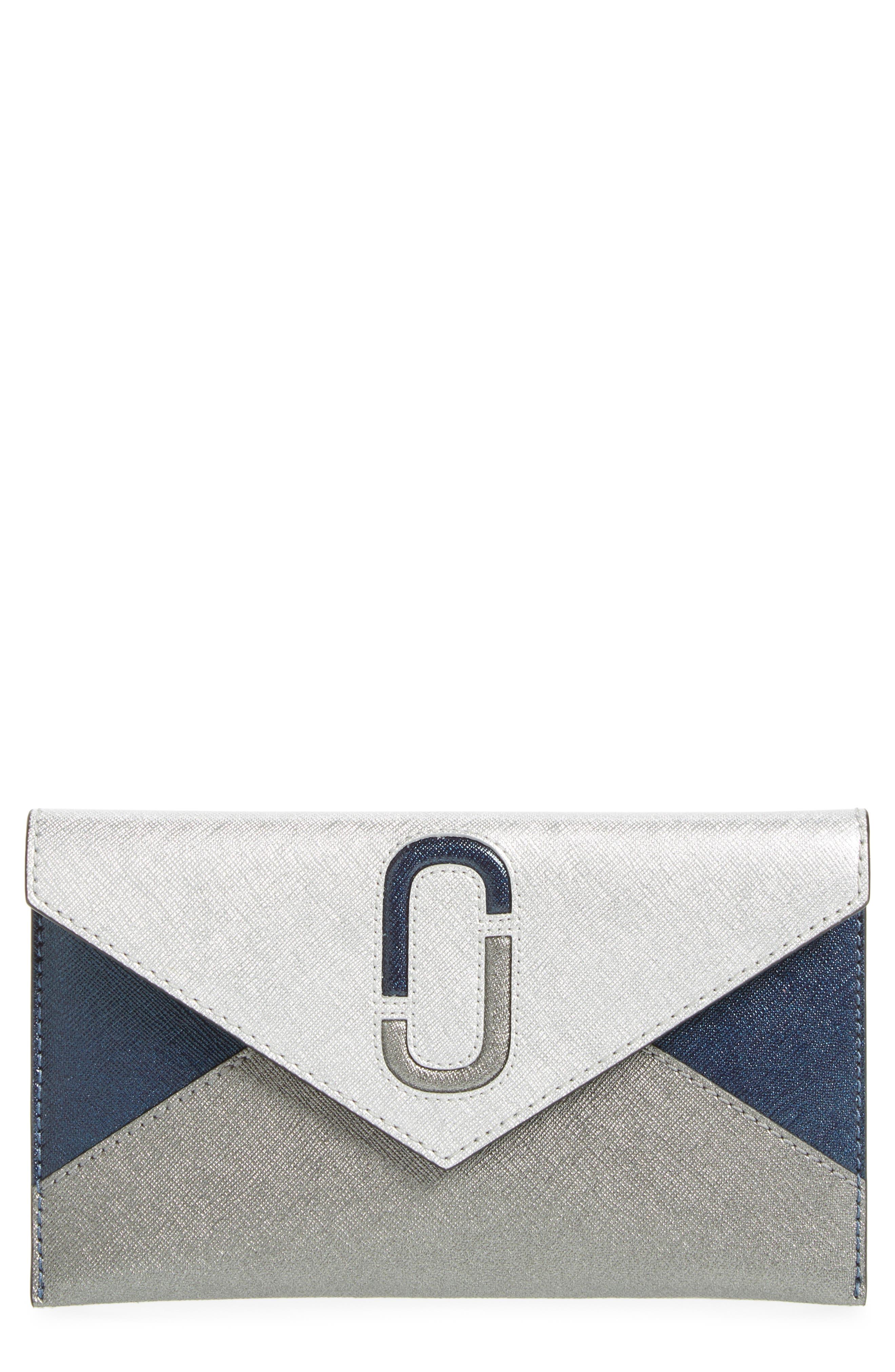 Double-J Saffiano Leather Pouch,                         Main,                         color, 040