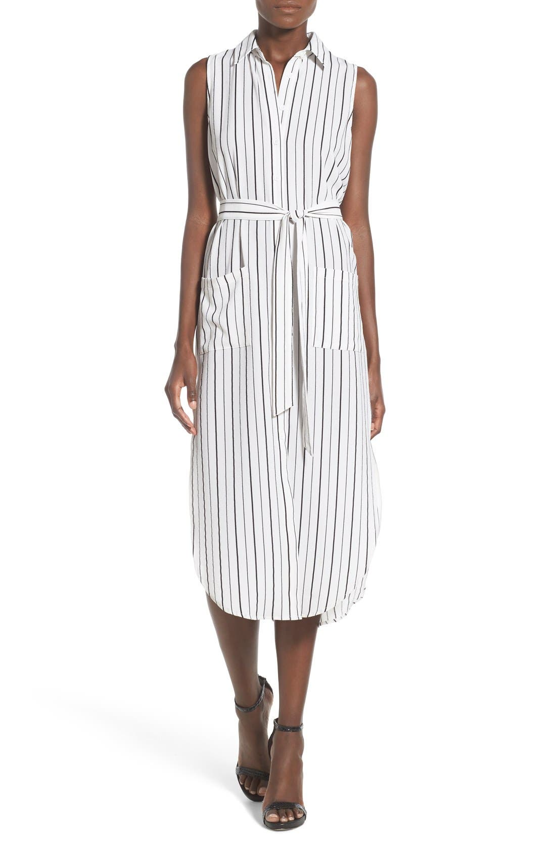 Stripe Sleeveless Midi Shirtdress,                             Main thumbnail 1, color,                             100