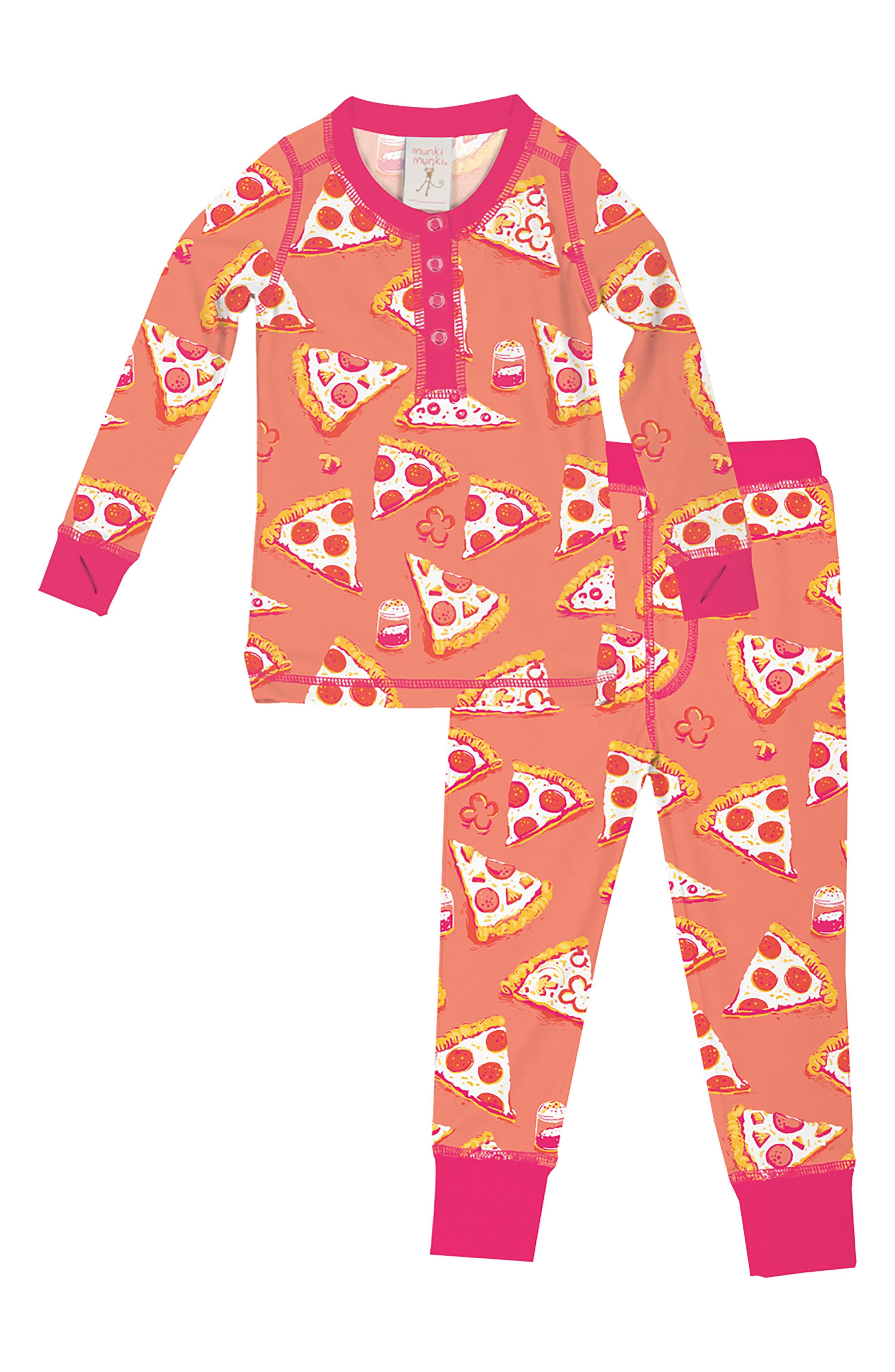 Toddler Girls Munki Munki Pizza Fitted TwoPiece Pajamas Size 2  Orange