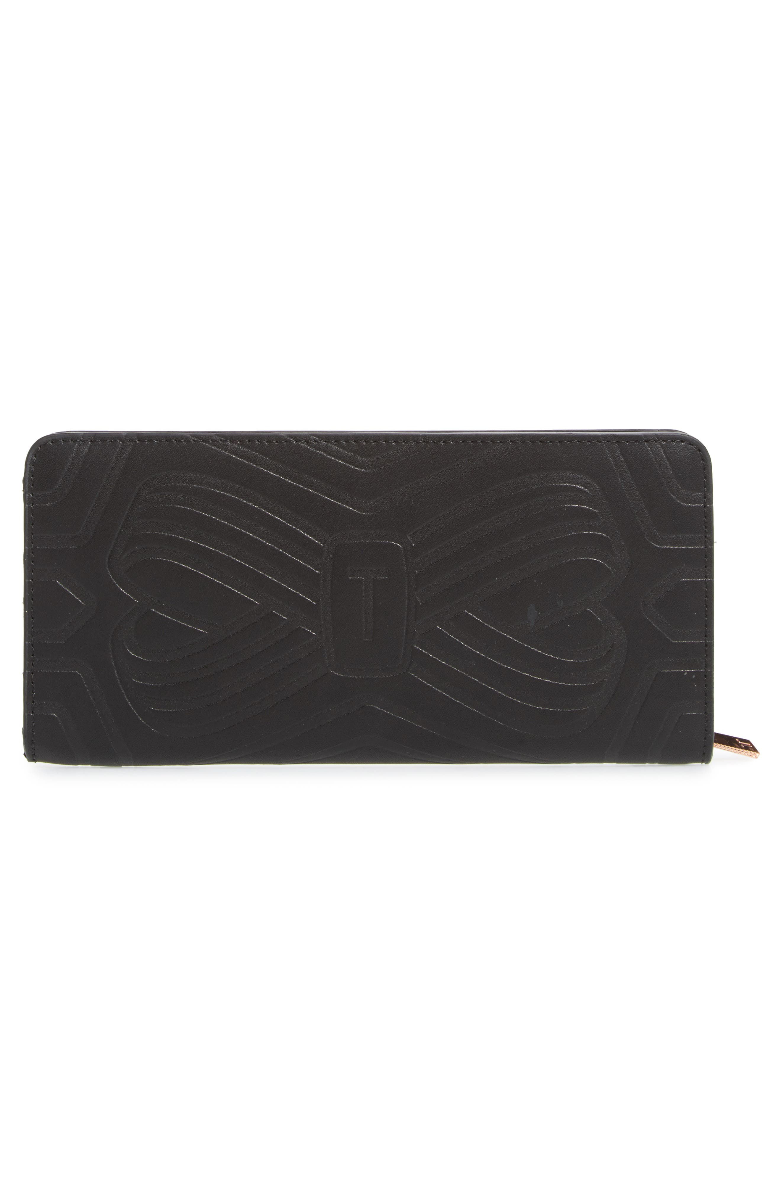 Mellvna Embossed Bow Leather Matinée Wallet,                             Alternate thumbnail 3, color,                             001