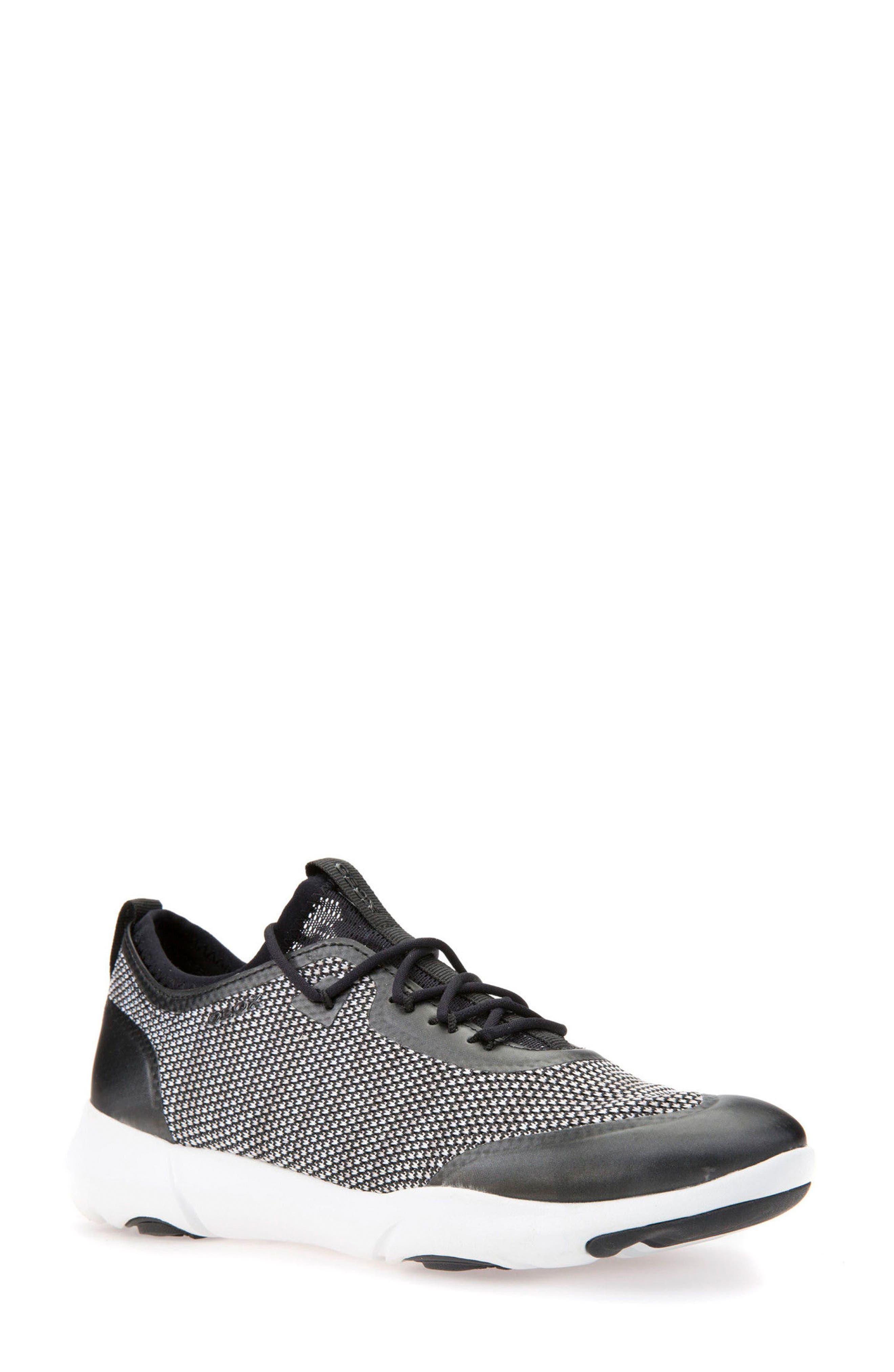 Nebula X Knit Sneaker,                             Main thumbnail 1, color,                             BLACK/ WHITE LEATHER