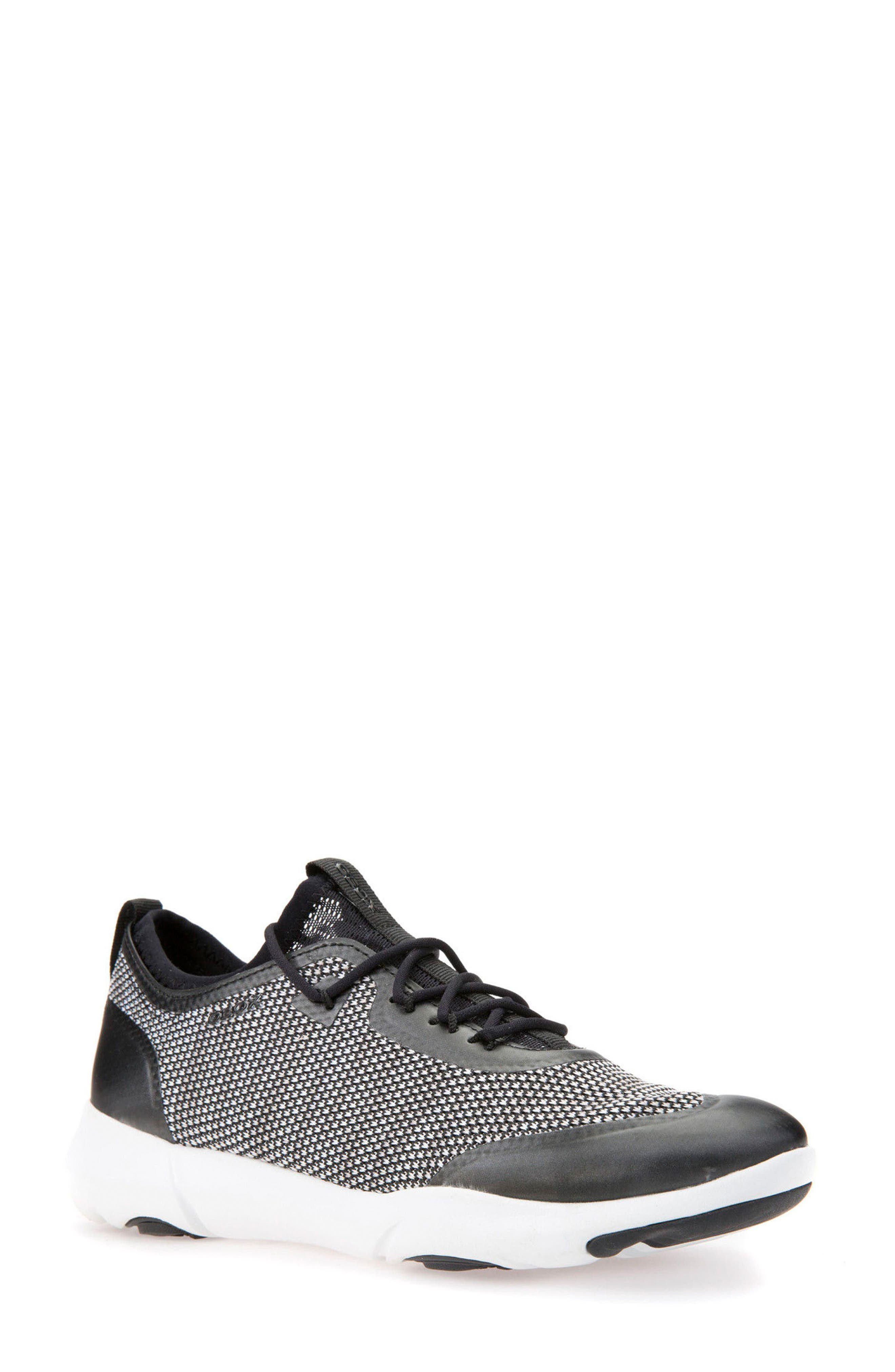 Nebula X Knit Sneaker,                         Main,                         color, BLACK/ WHITE LEATHER