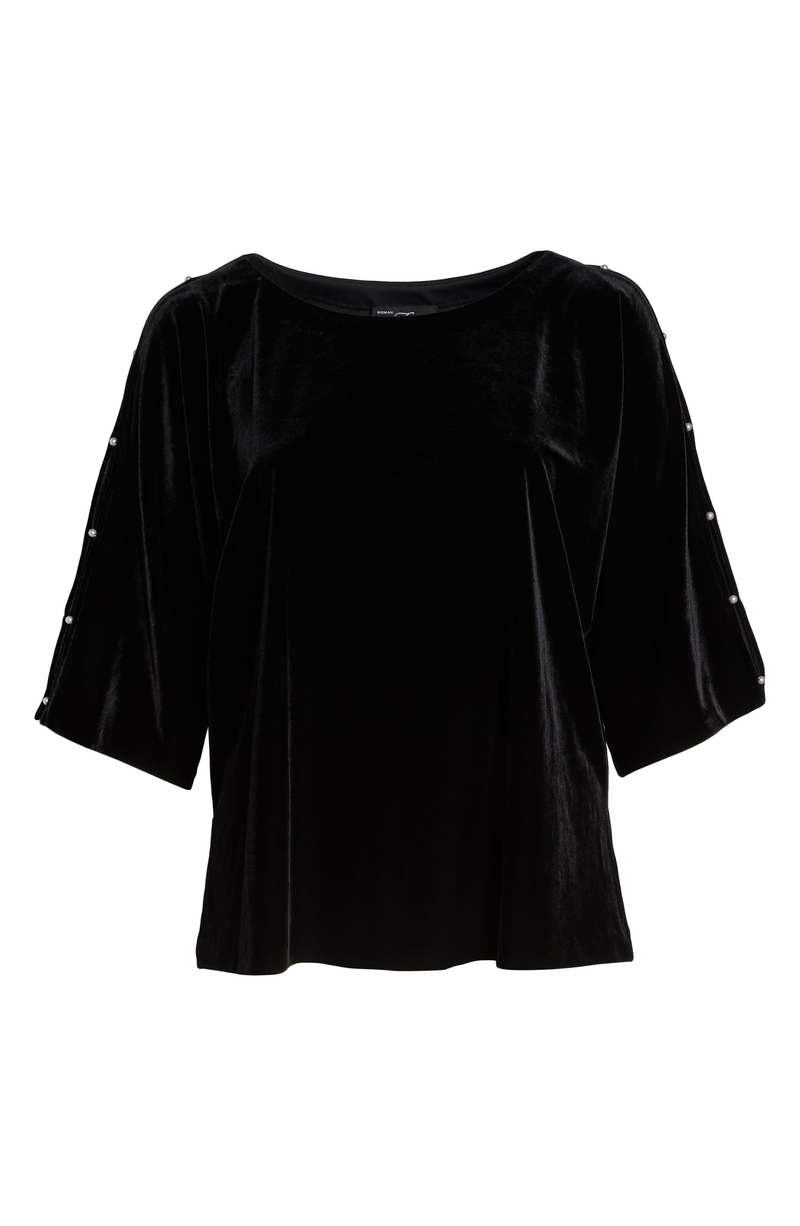 Embellished Split Sleeve Velvet Tunic,                             Alternate thumbnail 6, color,                             001