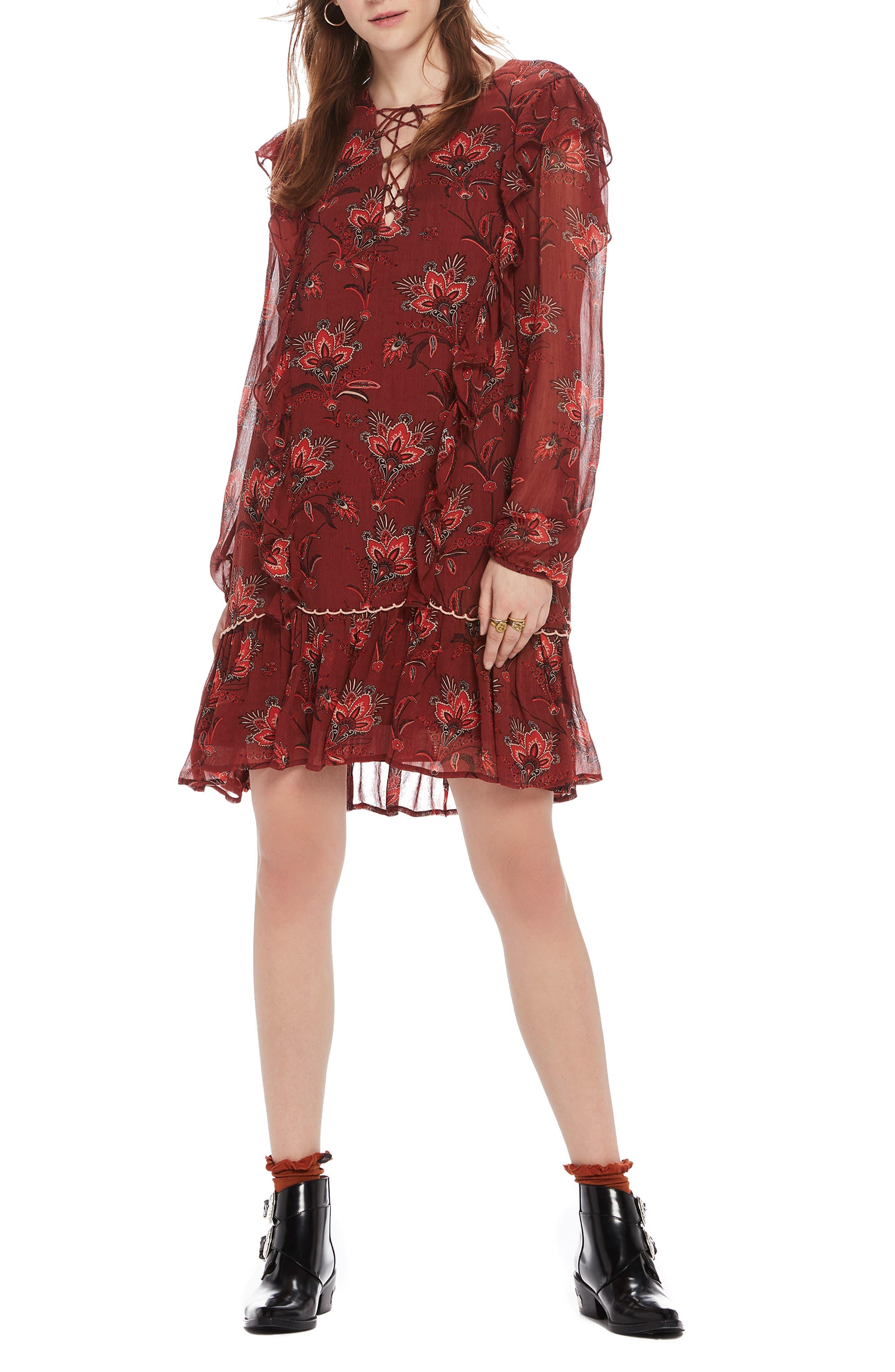 SCOTCH & SODA Print Drop Hem Dress, Main, color, 931
