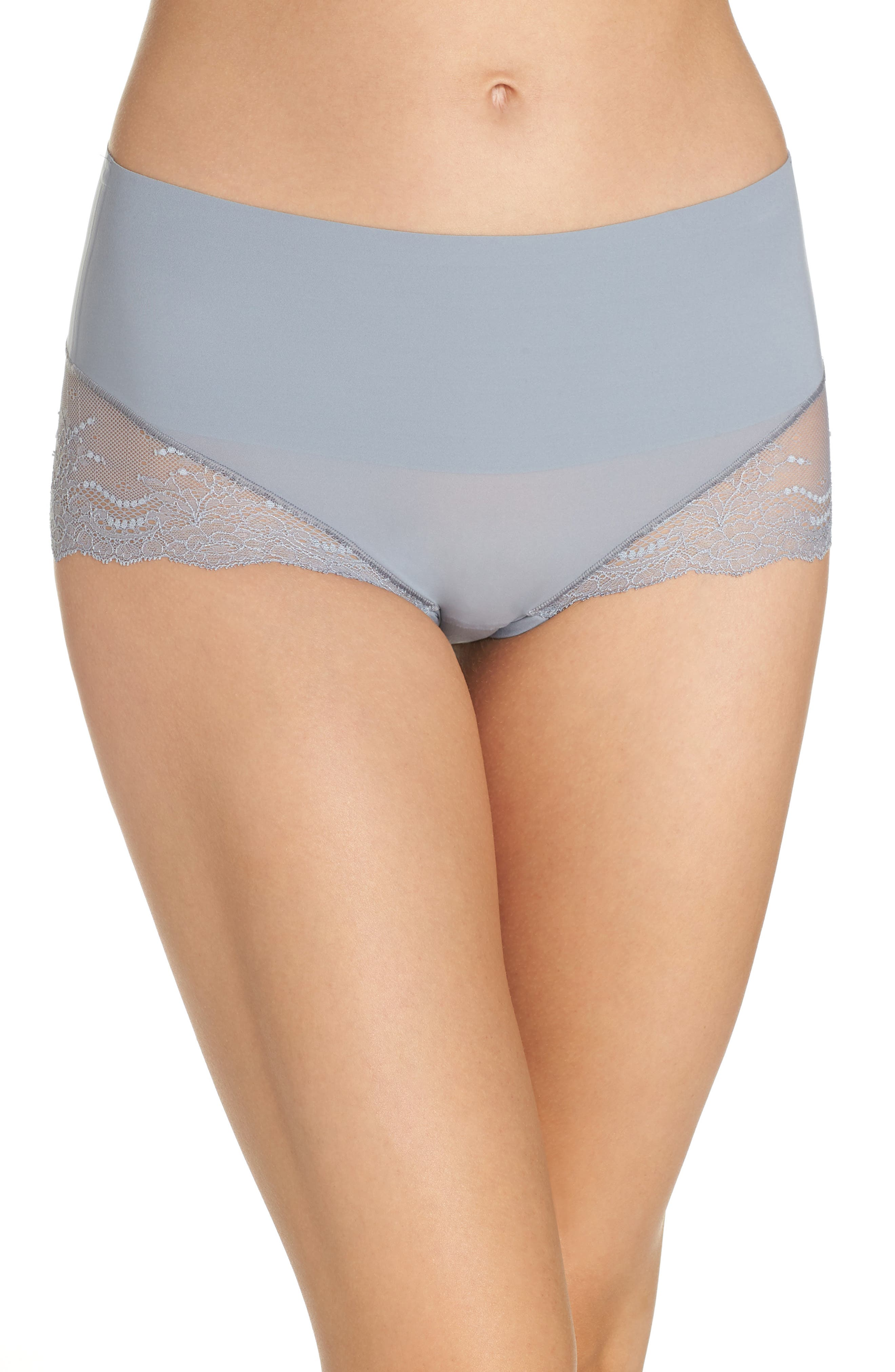 Undie-tectable Lace Hipster Panties,                         Main,                         color, FOG GREY
