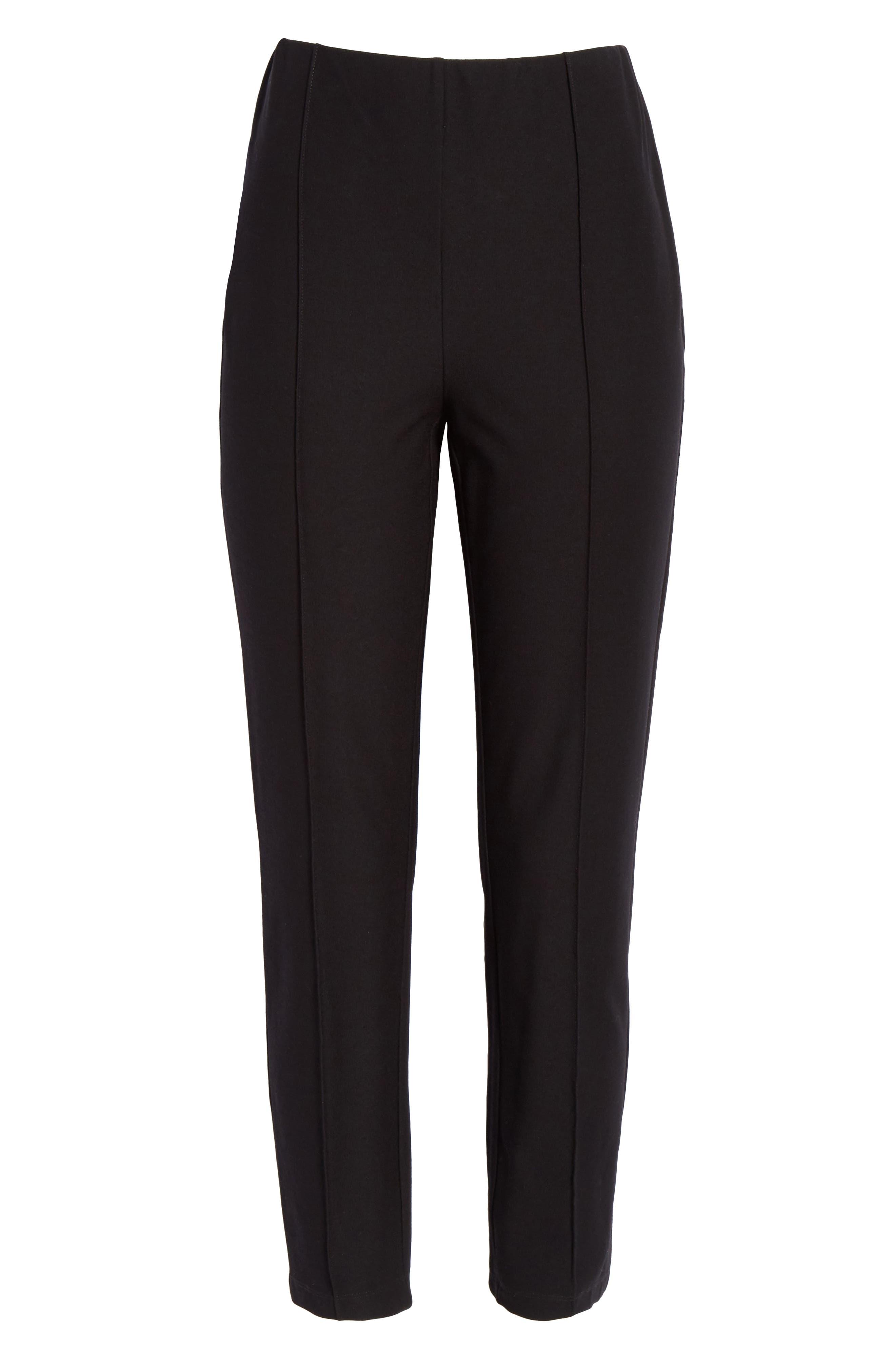 High Waist Slim Ankle Pants,                             Alternate thumbnail 6, color,                             BLACK