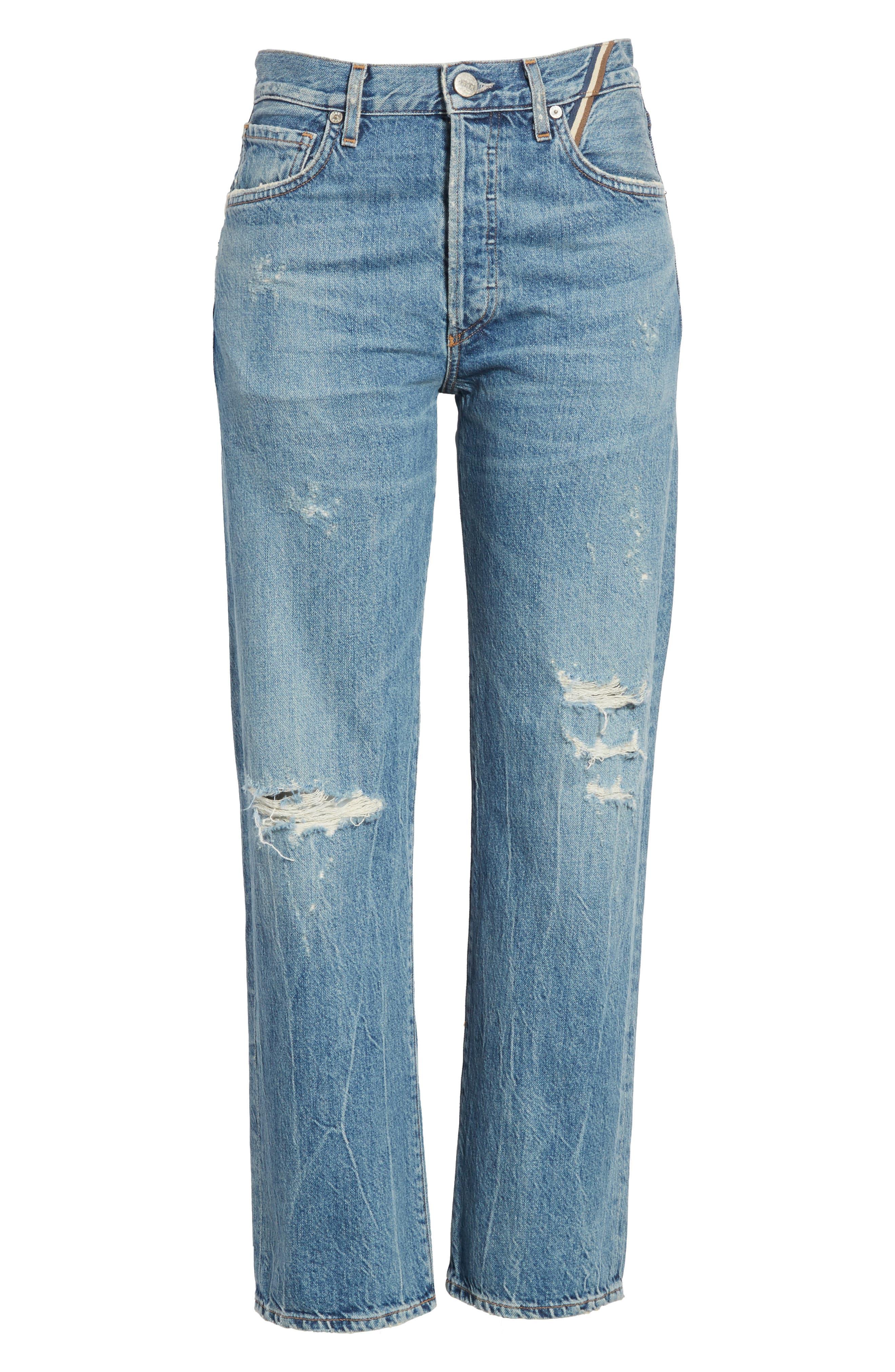 Laurent High Rise Distressed Boyfriend Jeans,                             Alternate thumbnail 6, color,                             VINTAGE