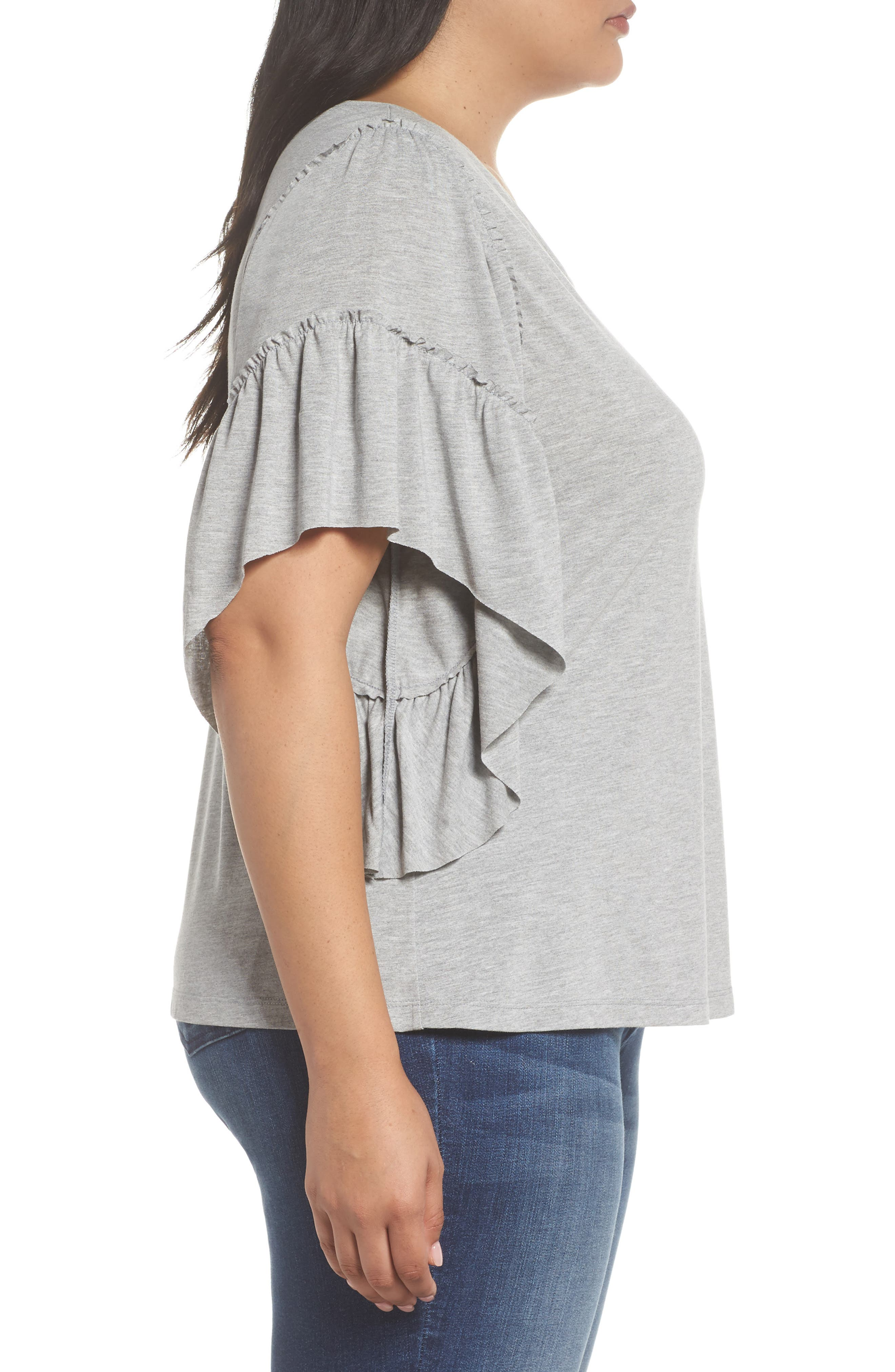 Frill Sleeve Tee,                             Alternate thumbnail 3, color,                             030
