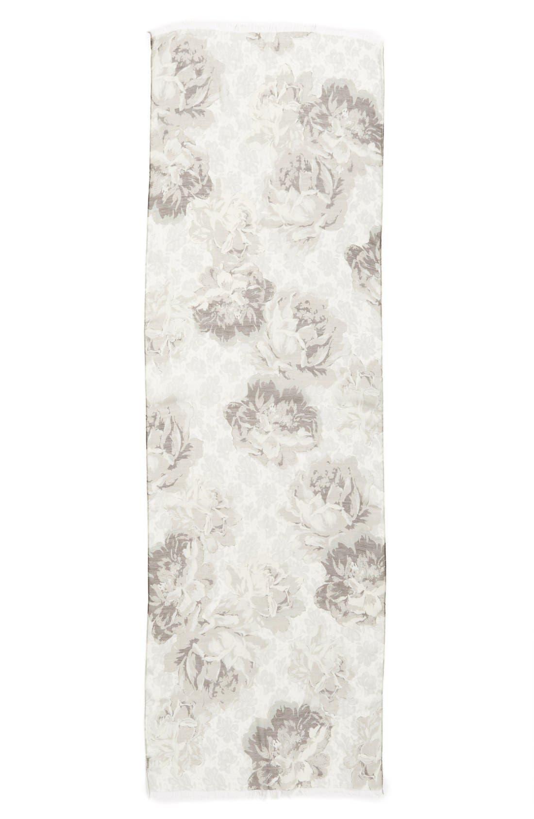'Sheer Rose' Floral Print Modal & Silk Scarf,                             Alternate thumbnail 2, color,                             200