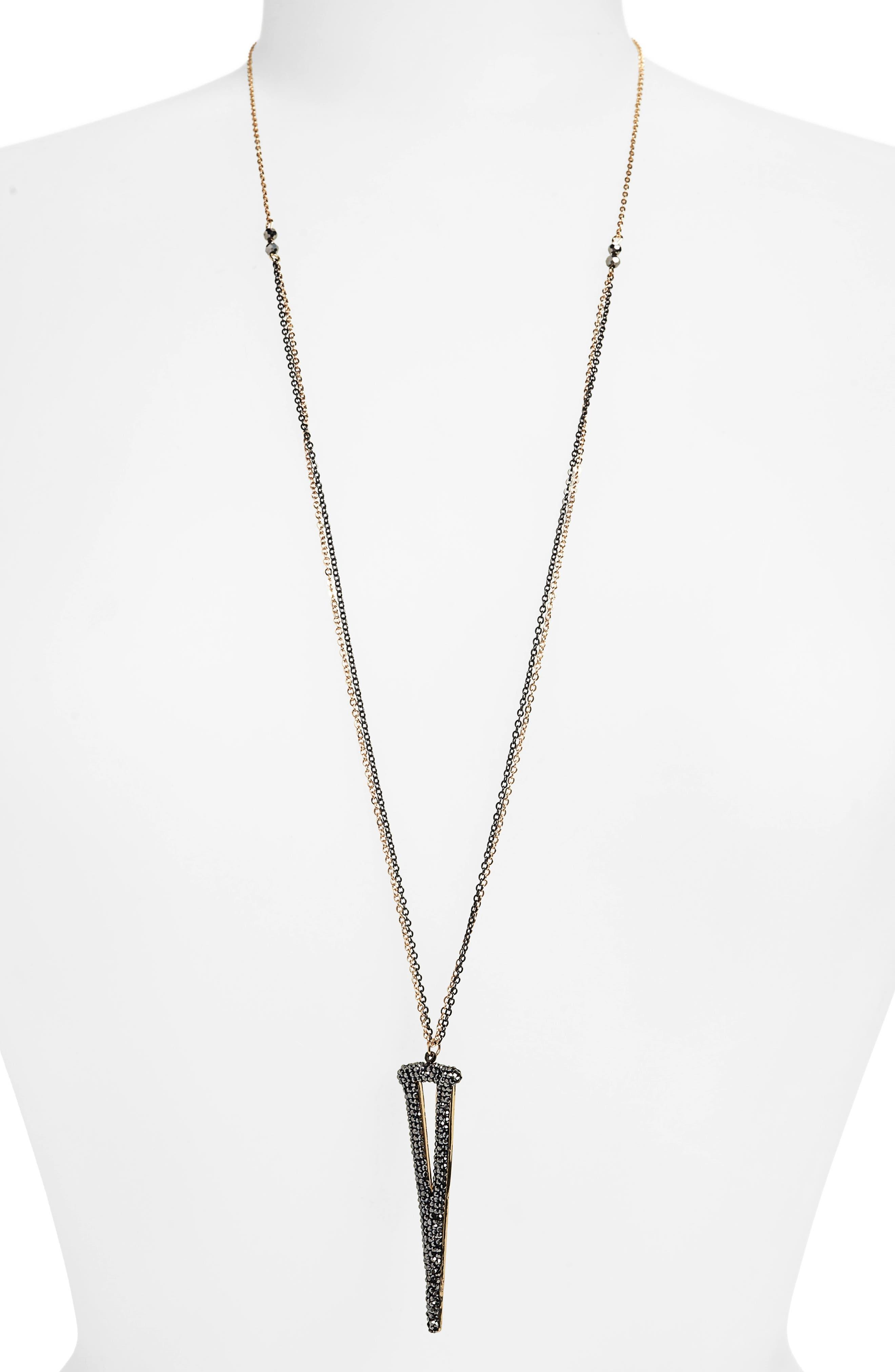 PANACEA Linear Triangle Pendant Necklace in Hematite