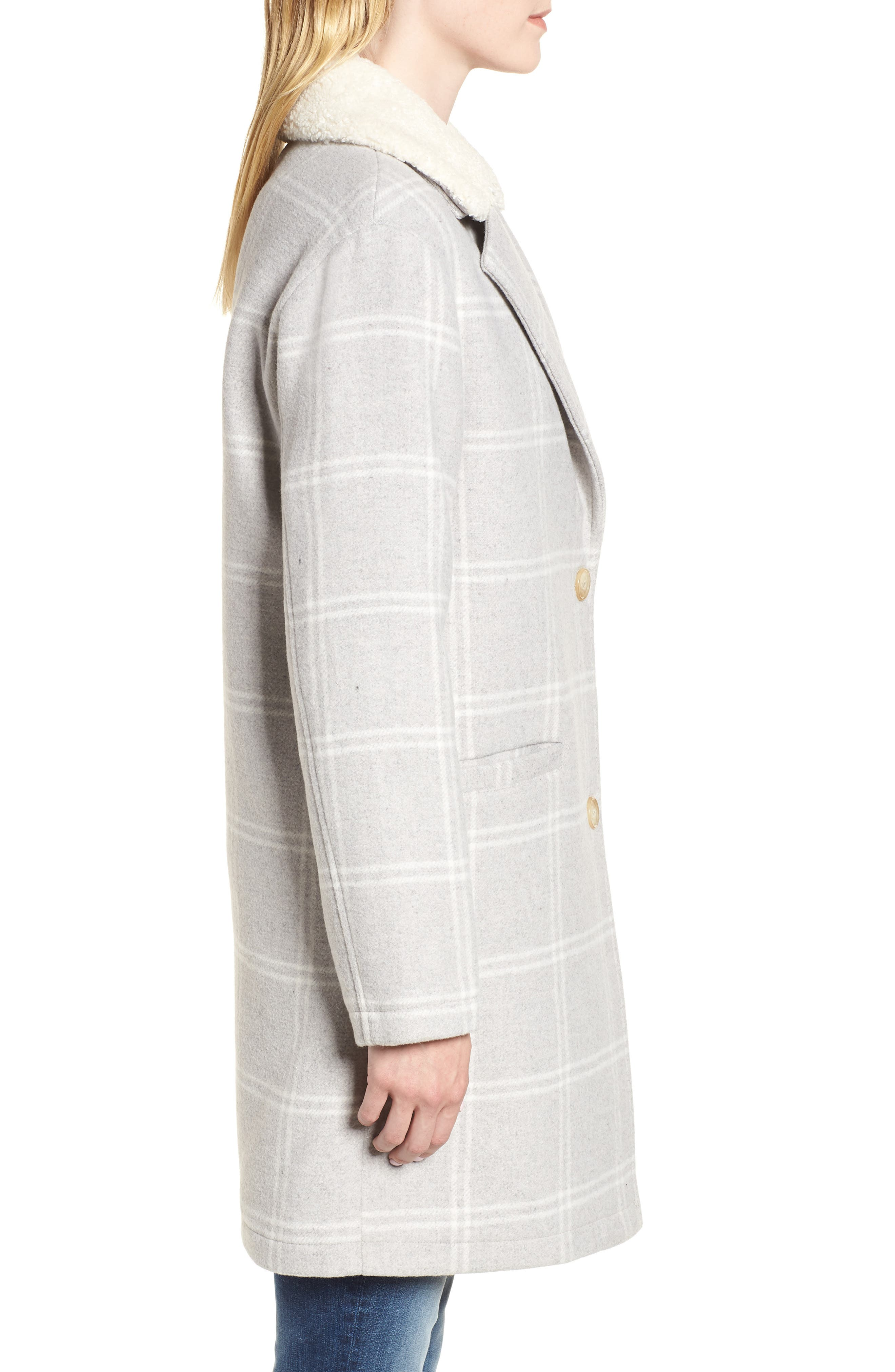 Wool Top Coat,                             Alternate thumbnail 3, color,                             GREY PLAID WOOL