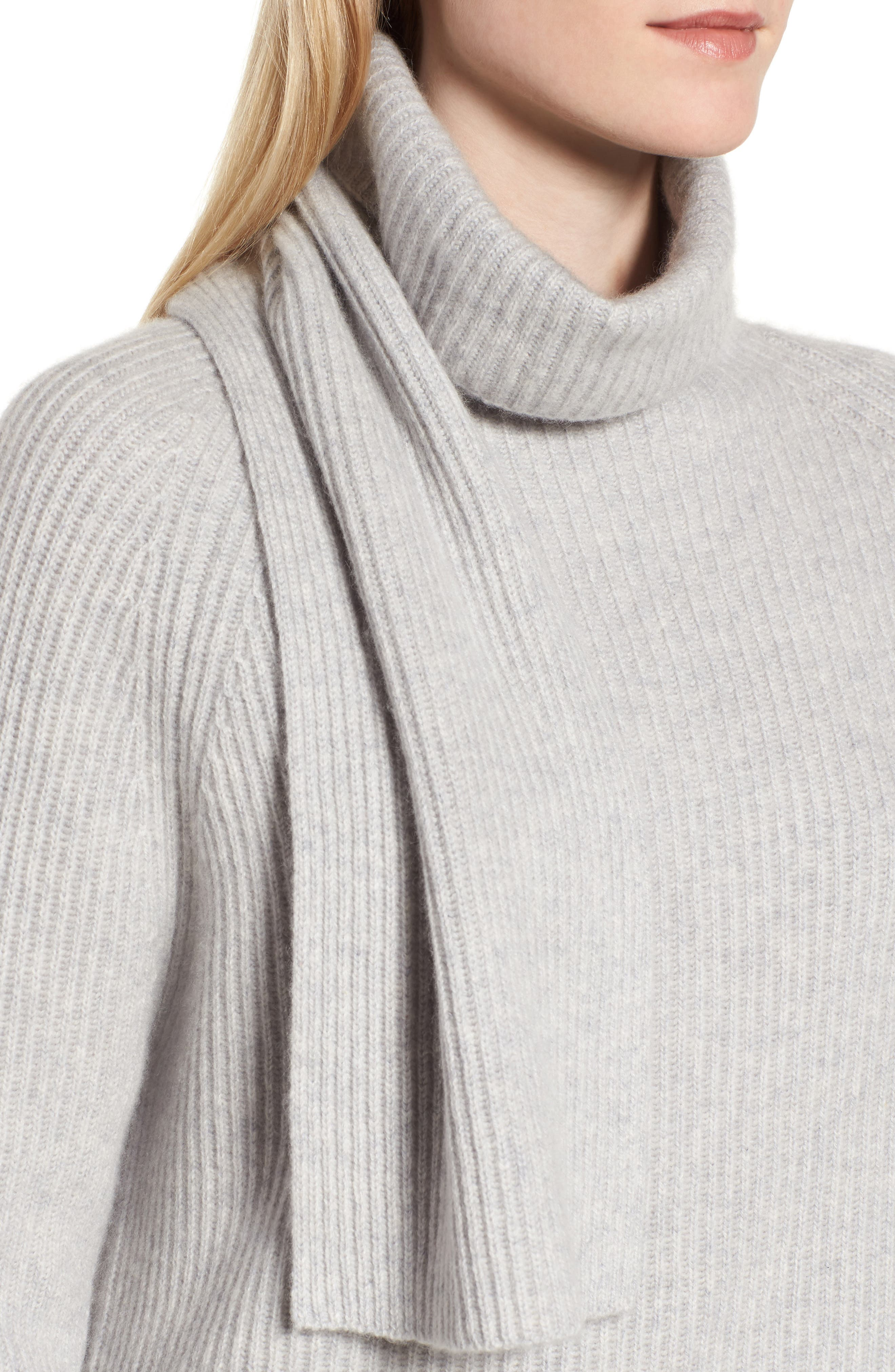 Scarf Neck Cashmere Sweater,                             Alternate thumbnail 4, color,                             050