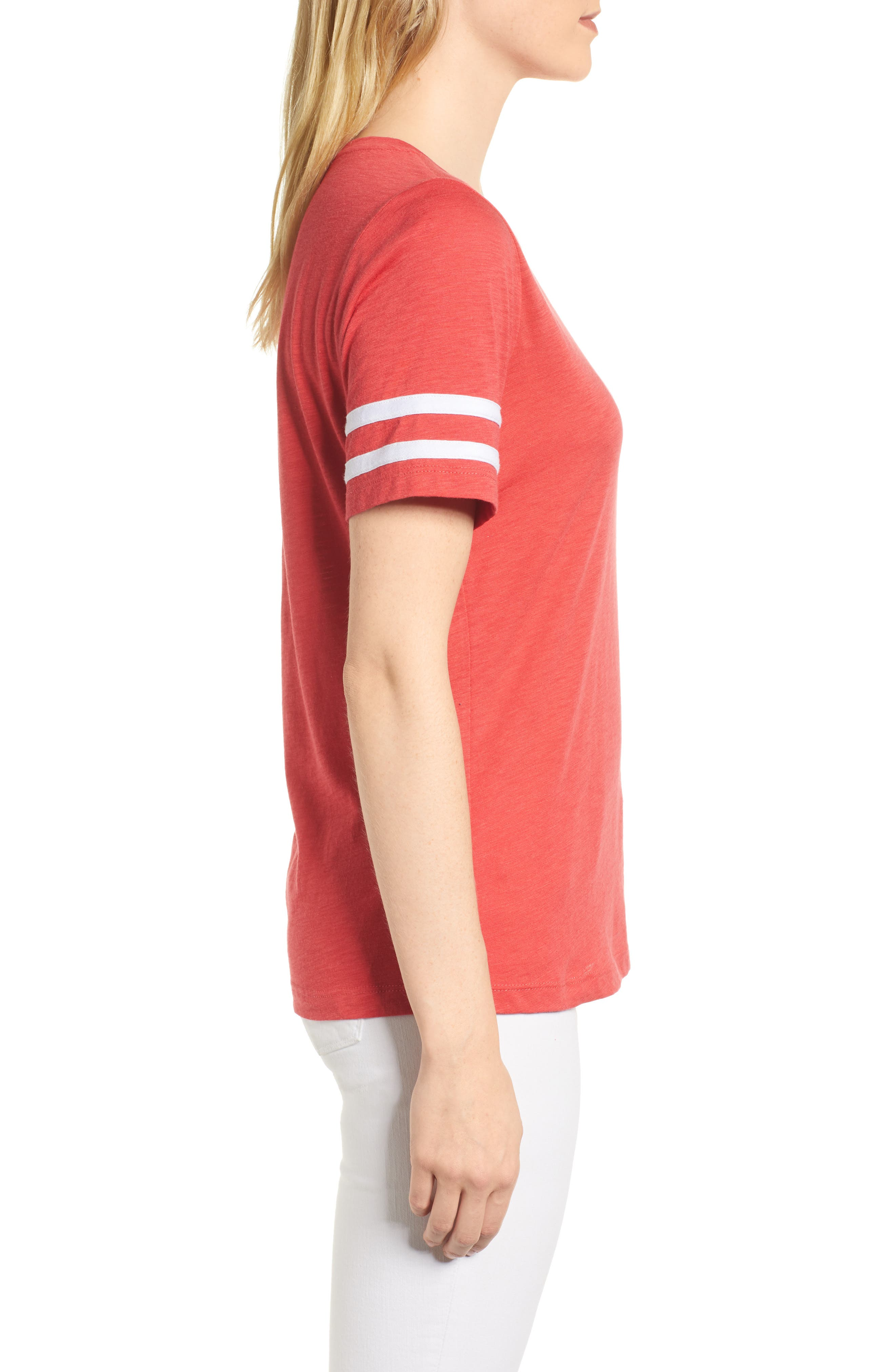 Stripe Sleeve Cotton Blend Athletic Tee,                             Alternate thumbnail 13, color,