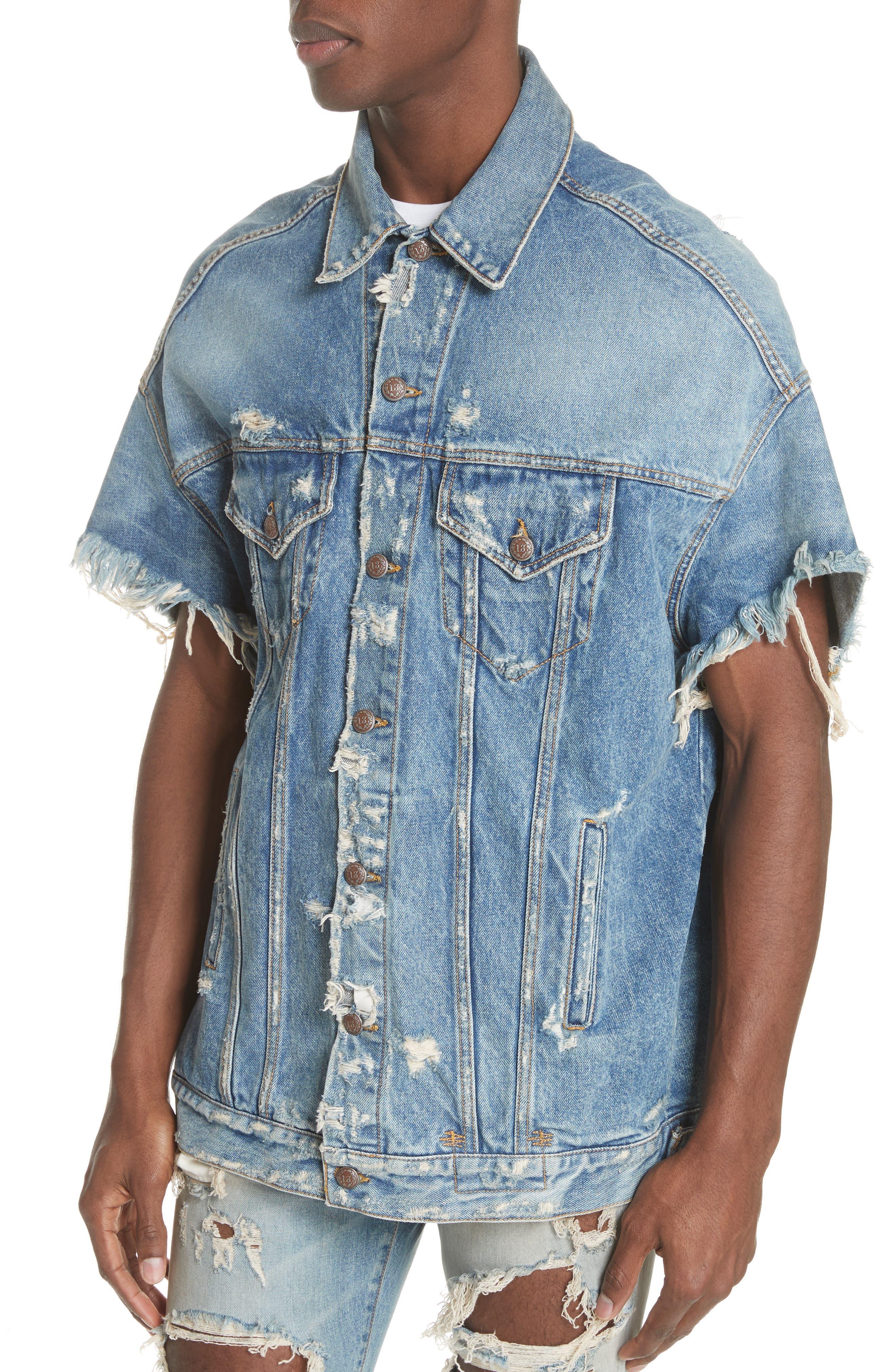 Oversized Cutoff Denim Jacket,                             Alternate thumbnail 4, color,                             BLUE