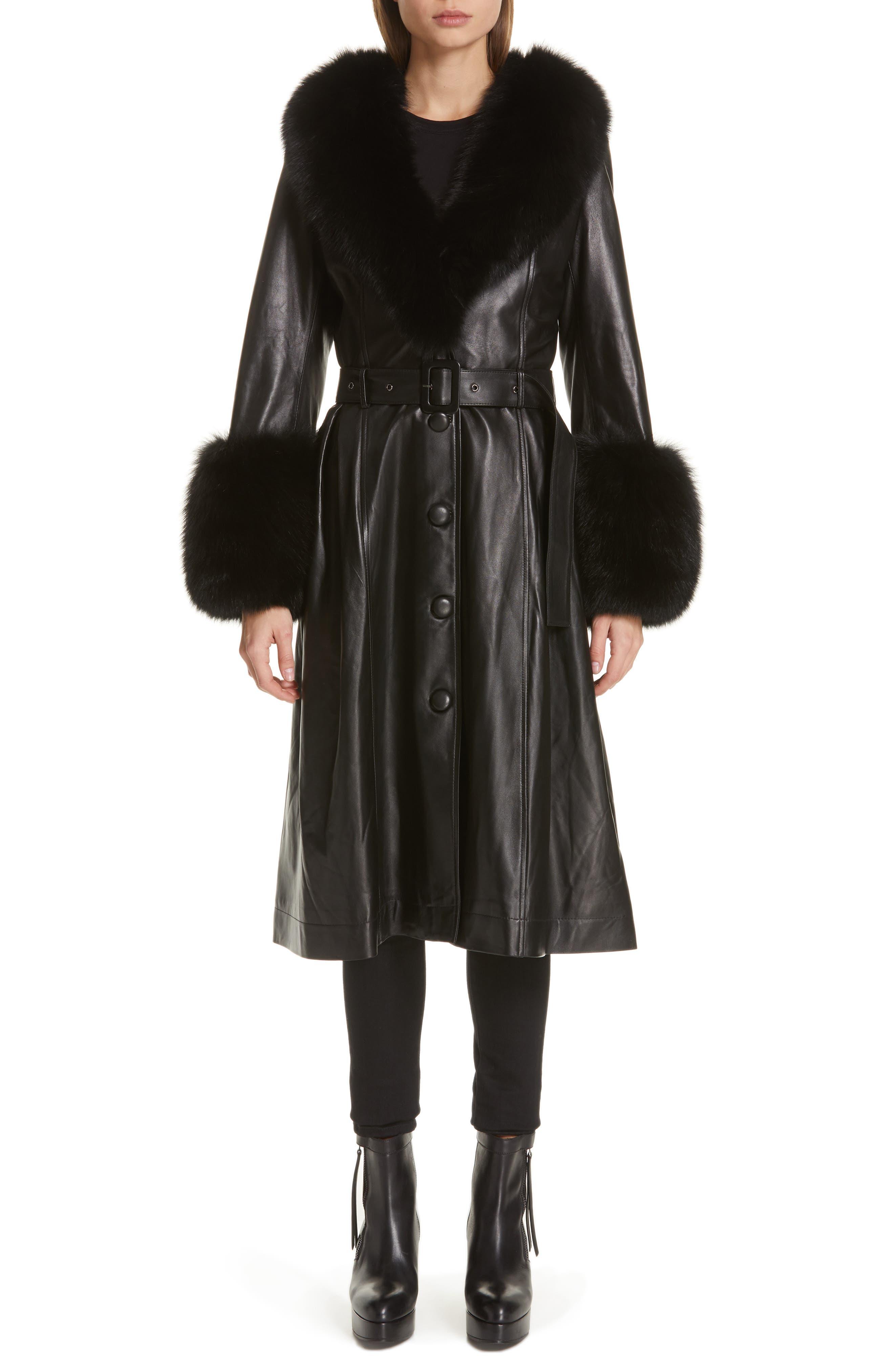 SAKS POTTS,                             Foxy Leather Coat with Genuine Fox Fur Trim,                             Main thumbnail 1, color,                             BLACK
