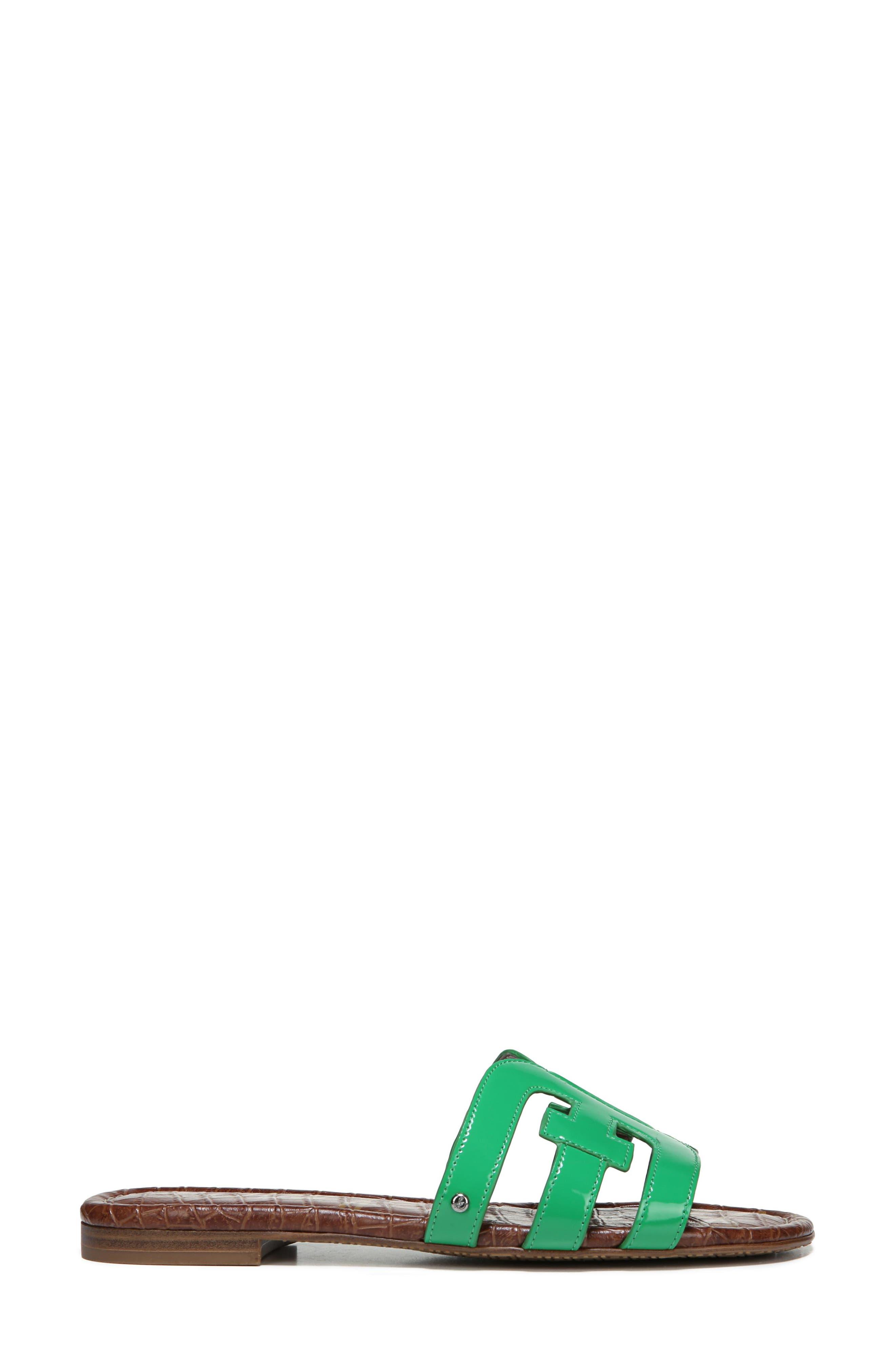 Bay Cutout Slide Sandal,                             Alternate thumbnail 7, color,                             LEAF GREEN PATENT LEATHER